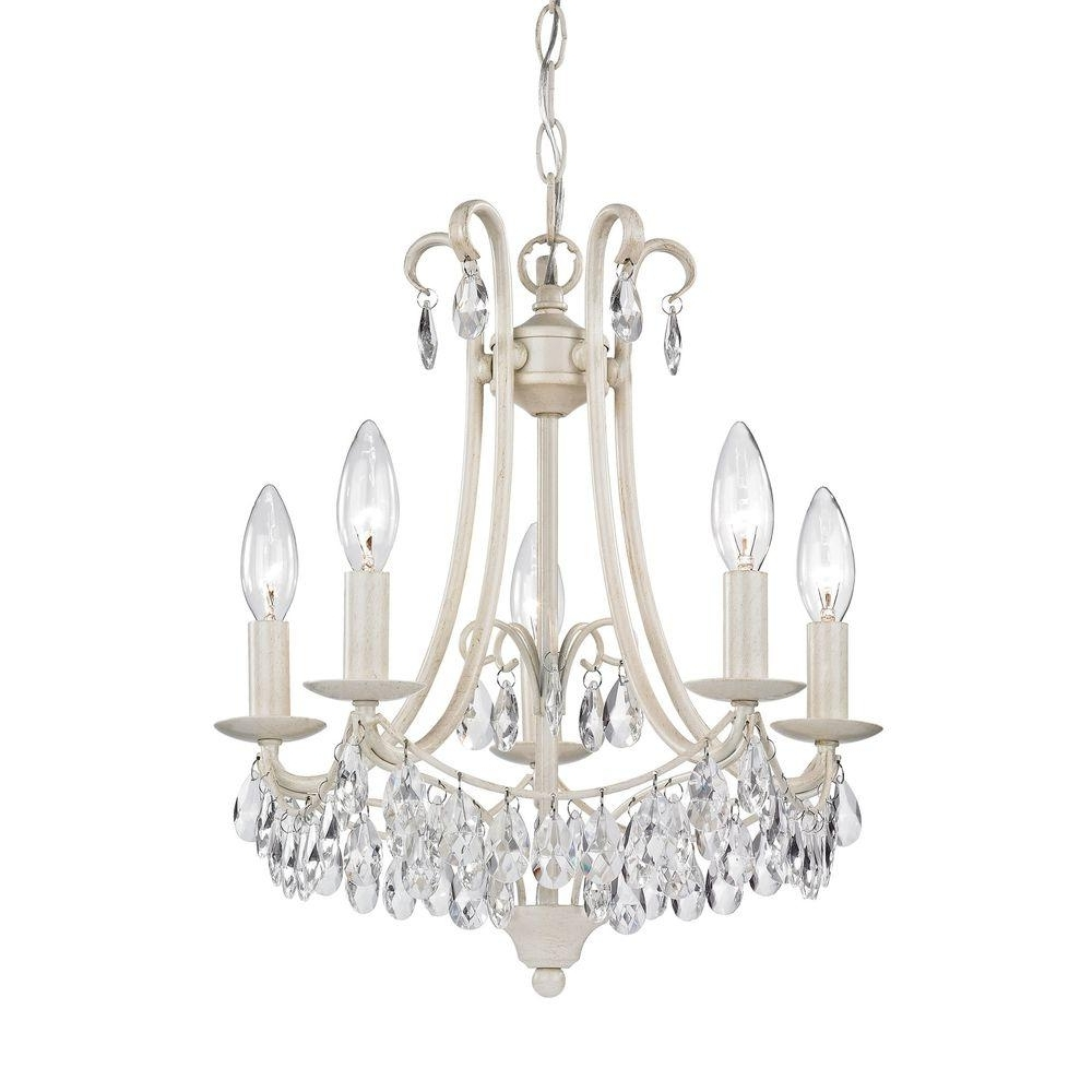 Titan Lighting 5 Light Antique Cream And Clear Mini Chandelier Tn Regarding Most Popular Cream Chandelier (View 13 of 15)
