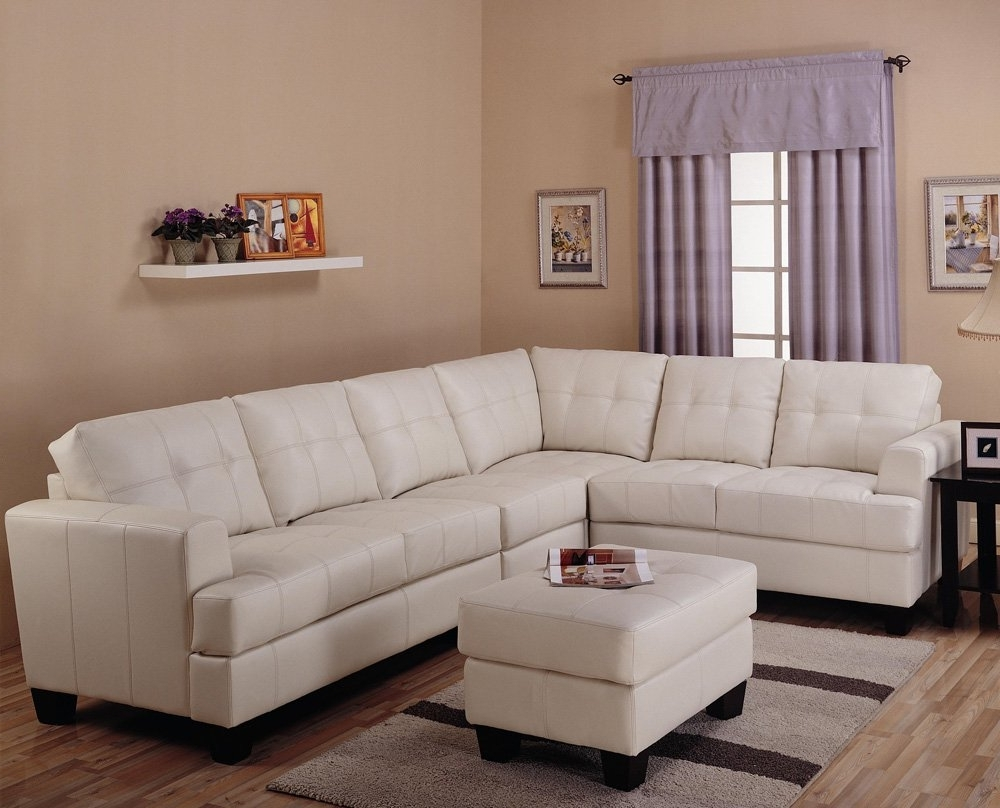 Toronto Tufted Cream Leather L Shaped Sectional Sofa At Gowfb (View 5 of 15)