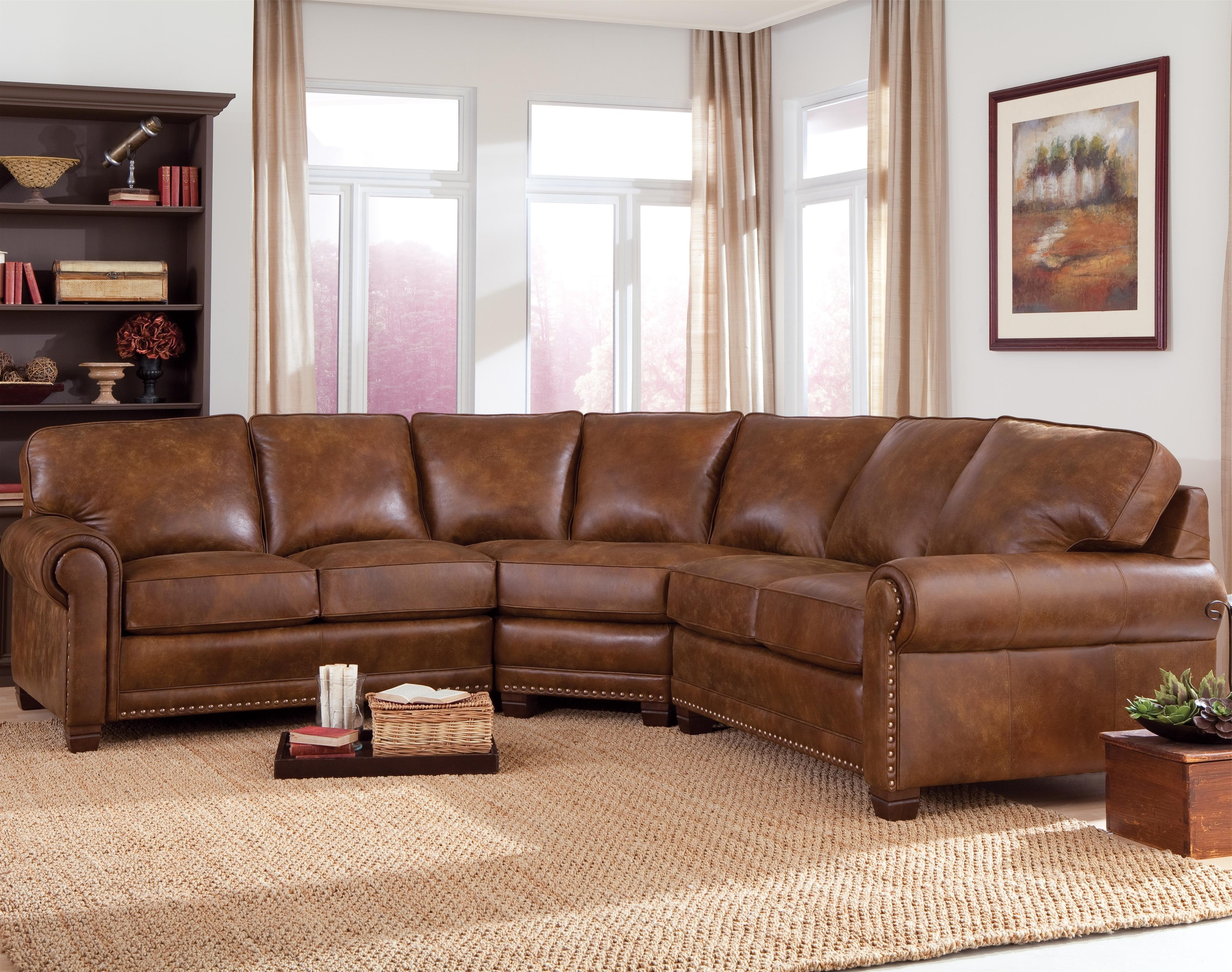 Traditional 3 Piece Sectional Sofa With Nailhead Trimsmith In Famous Sectional Sofas With Nailhead Trim (View 7 of 15)