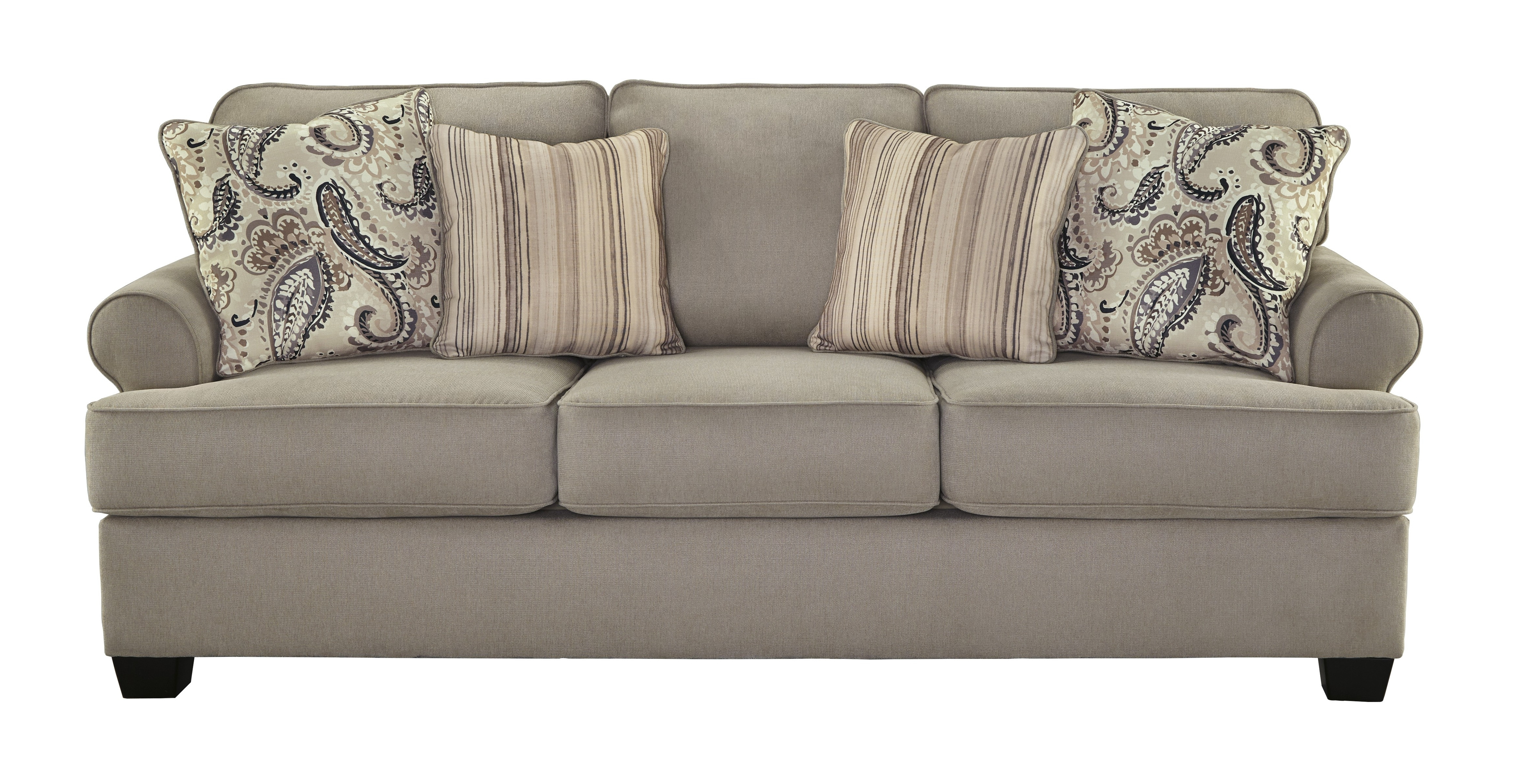Traditional Fabric Sofas Regarding Most Up To Date Ashley 4780038 Melaya Traditional Pebble Tone Fabric Upholstered Sofa (View 11 of 15)