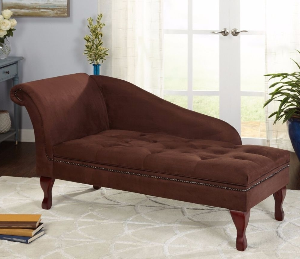 Transitional Chocolate Brown Microfiber Wood Storage Chaise Throughout Most Recent Chaises With Storage (View 6 of 15)
