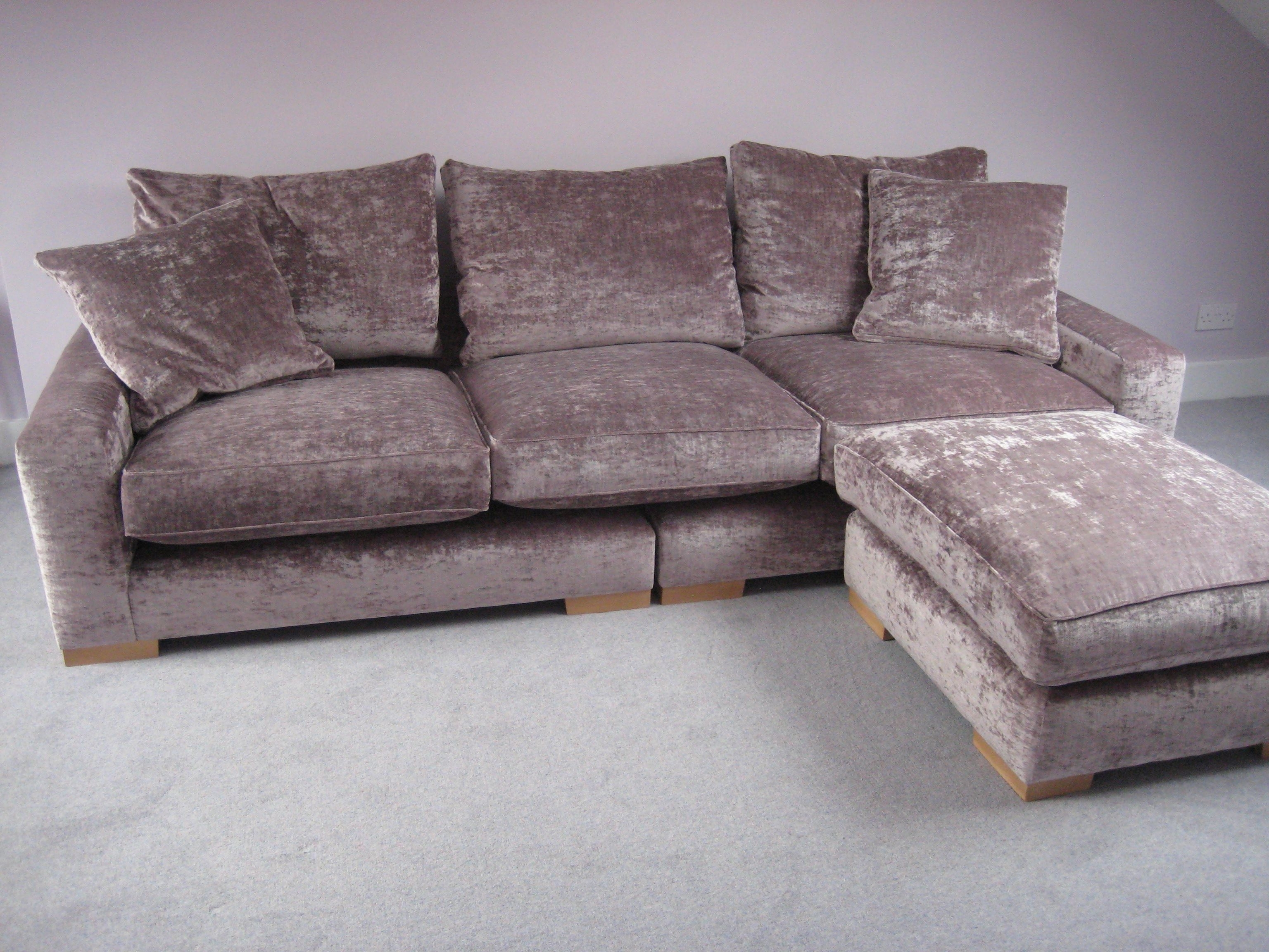Trendy 10X8 Sectional Sofas Throughout Modena Crushed Velvet (Sable) On This Higher Back/wider Armed (View 10 of 15)