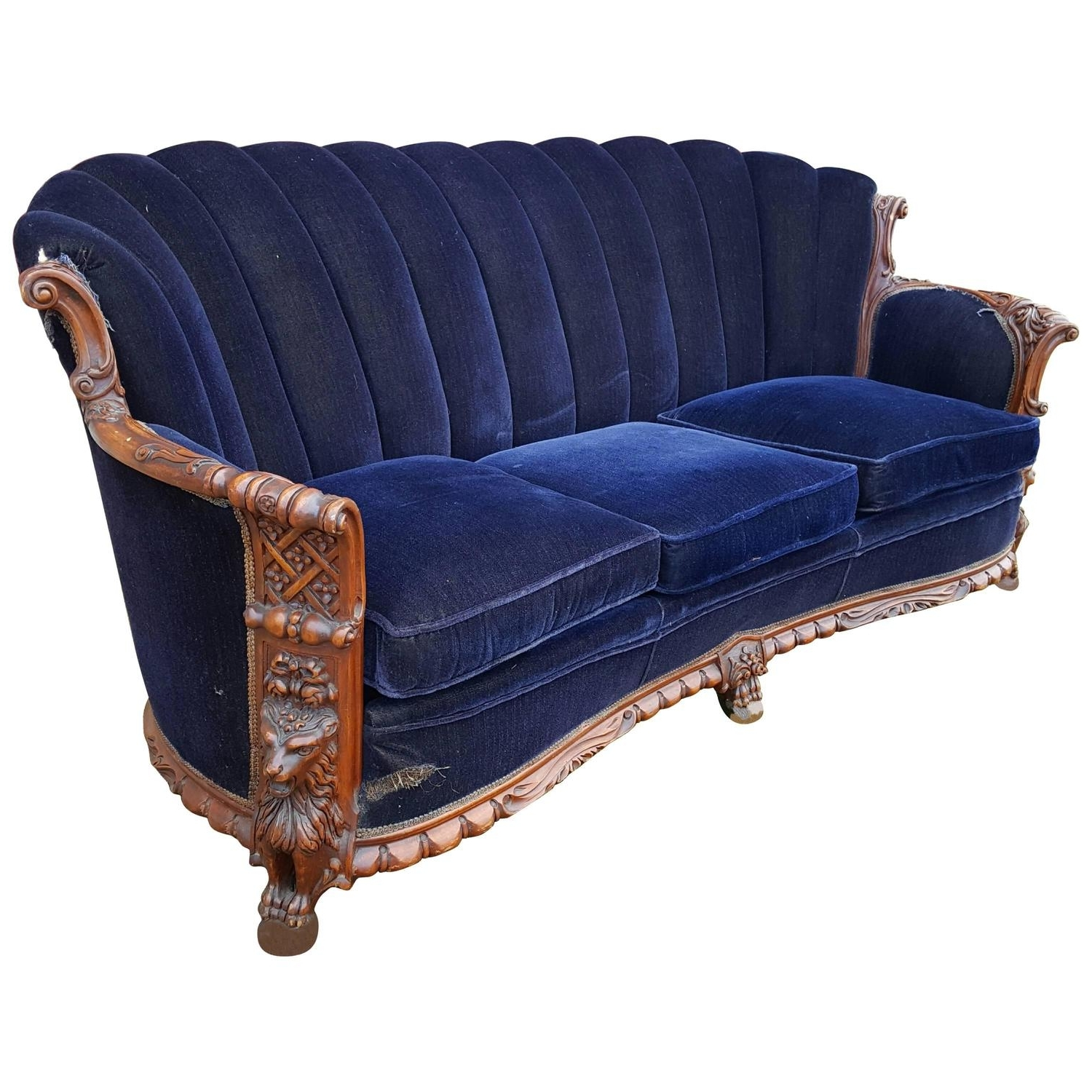 Trendy 1930S Mohair And Carved Wood Sofa, Carved Lion Motif At 1Stdibs Pertaining To 1930S Sofas (View 3 of 15)