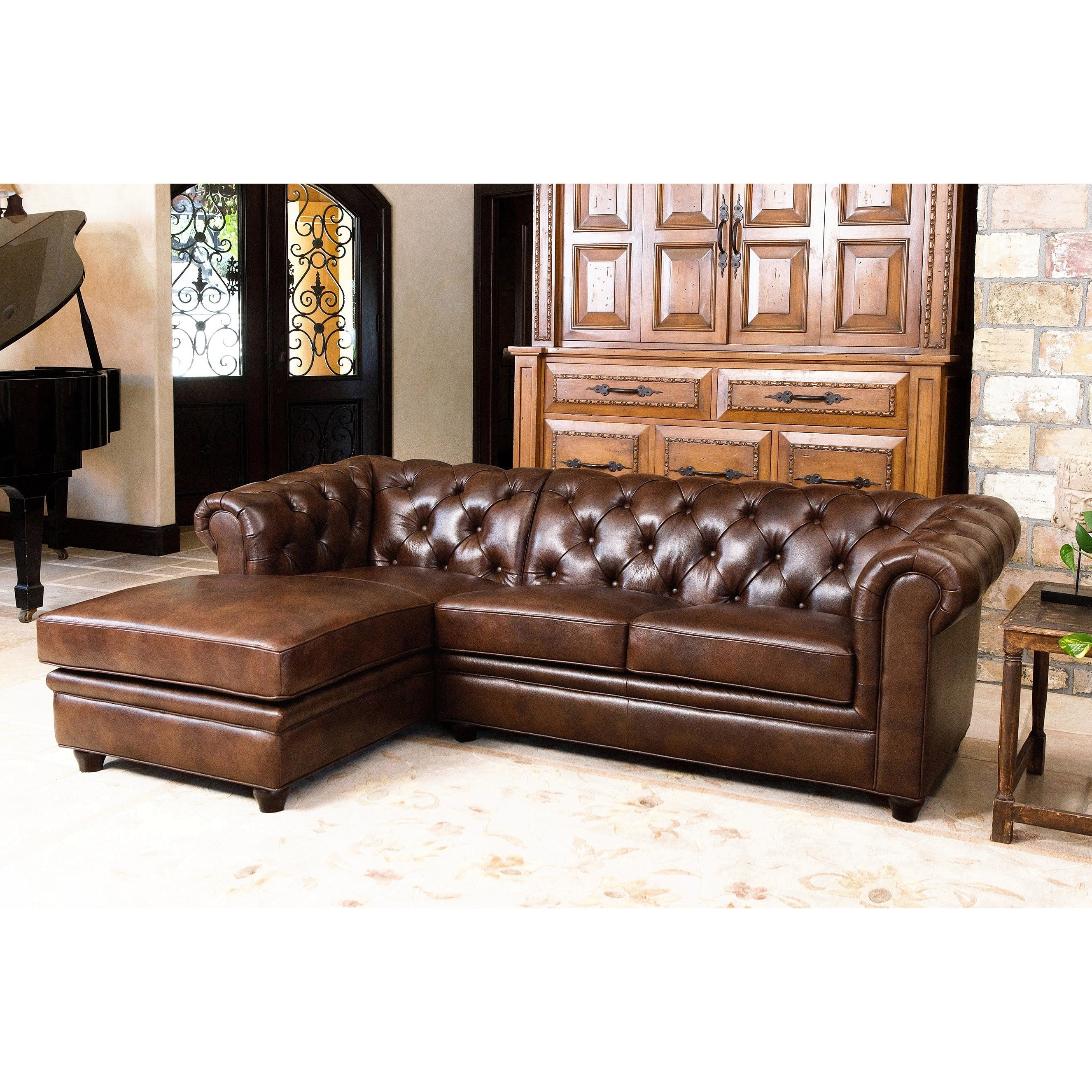 Trendy Abbyson Tuscan Tufted Top Grain Leather Chaise Sectional – Free Pertaining To Leather Chaise Sectionals (View 14 of 15)