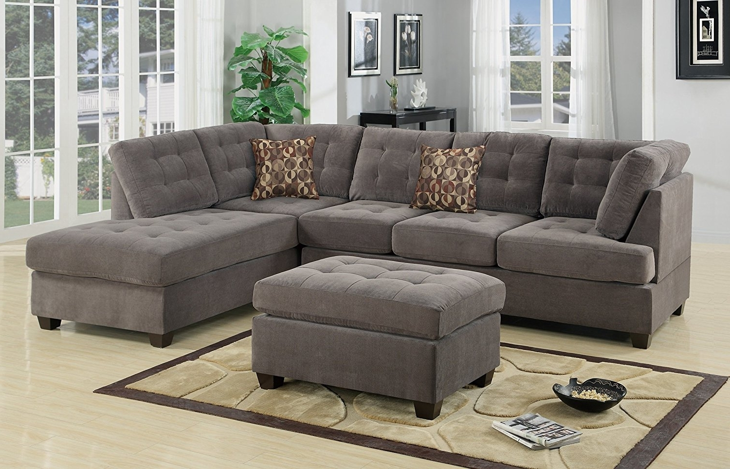 Trendy Amazon: Odessa Reversible Sectional Sofa Set With Ottoman Intended For Reversible Chaise Sectionals (View 15 of 15)