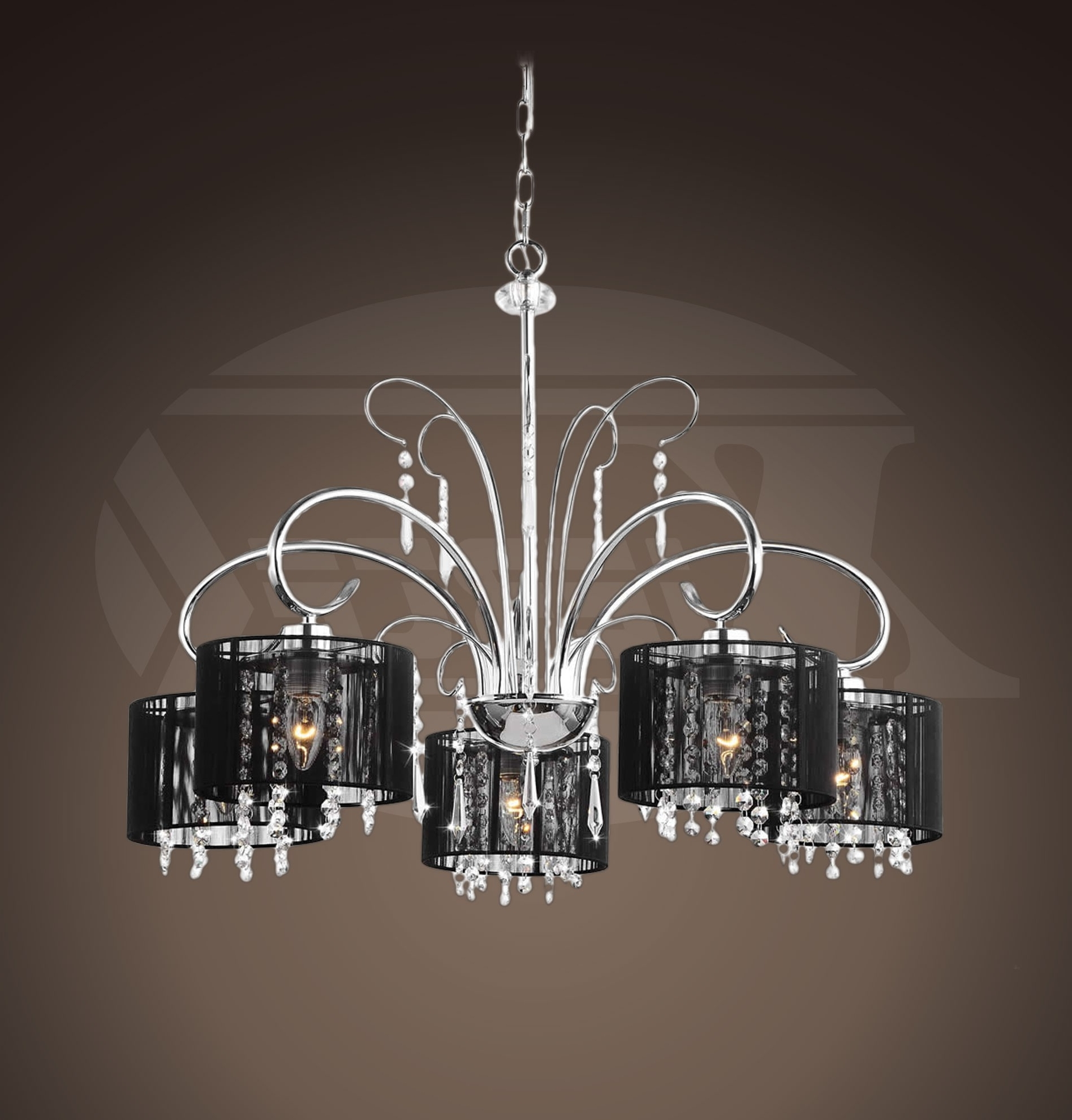Trendy Black Chandeliers With Shades Intended For Aegean Black Shade 5 Light Chrome Chandelier ( (View 12 of 15)