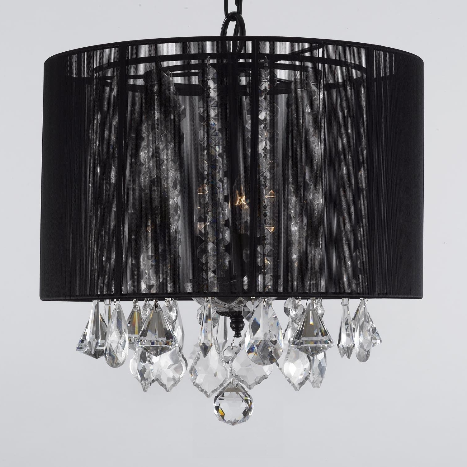 """Trendy Black Chandeliers With Shades Within Crystal Chandelier Chandeliers With Large Black Shade! H15"""" X W (View 13 of 15)"""