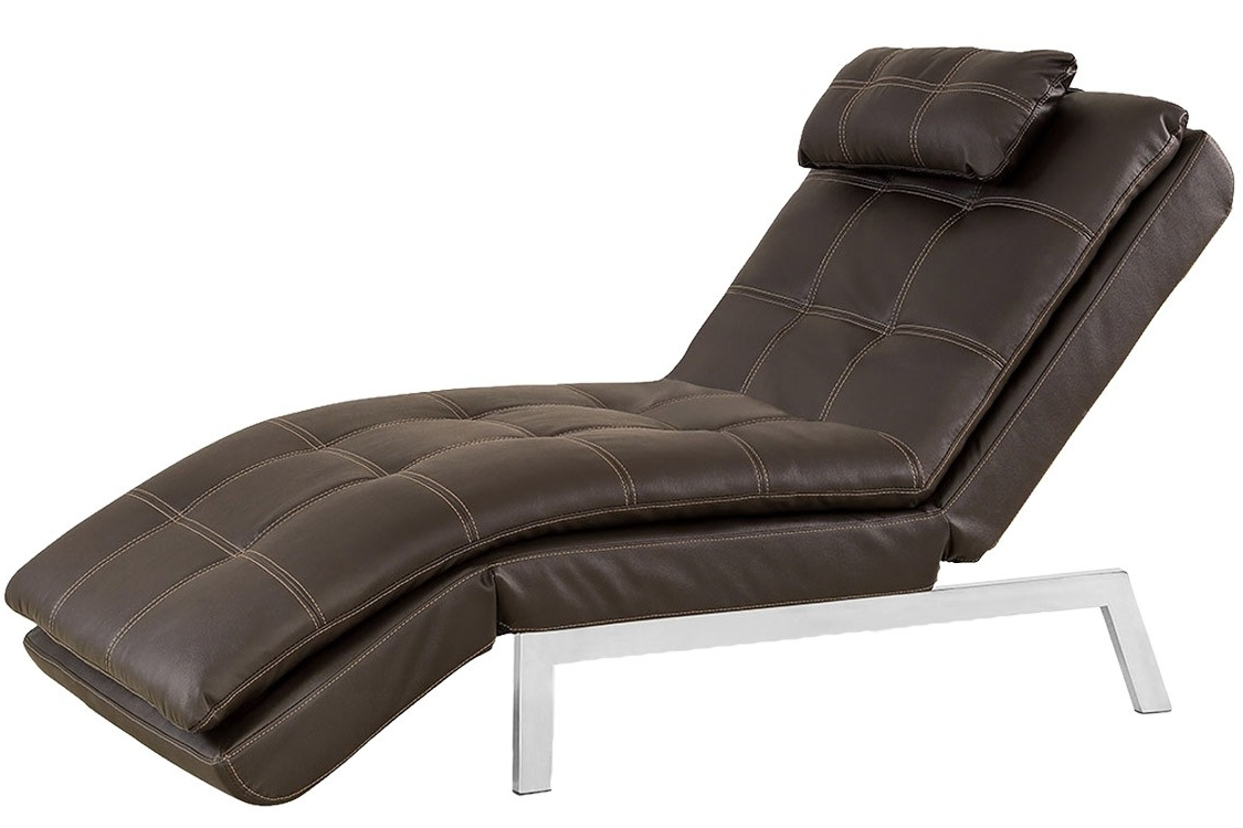 Trendy Brown Leather Chaise Lounger Futon (View 3 of 15)