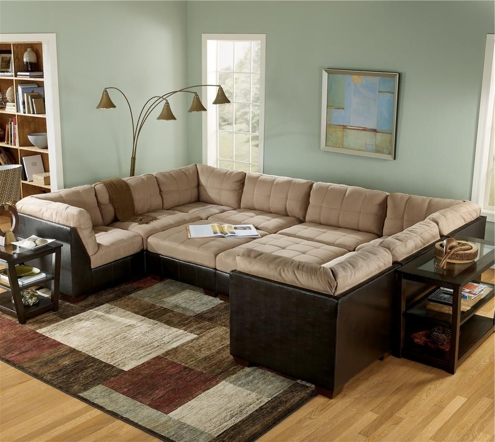 Trendy Cheap Sectionals With Ottoman Intended For Sectional Sofa Group With Ottomans And Faux Leather Lodi, Stockton (View 13 of 15)