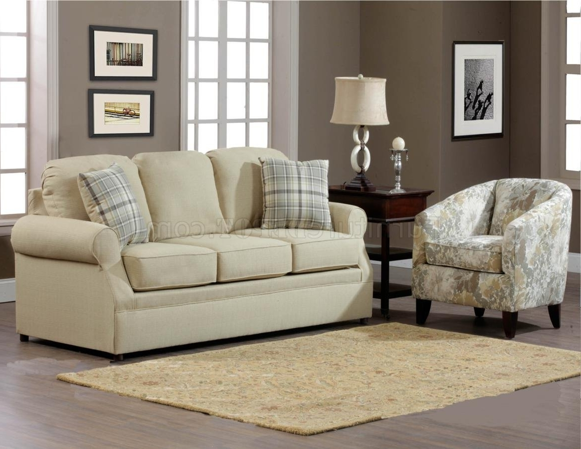 Trendy Cream Fabric Modern Sofa & Accent Chair Set W/options Inside Sofa And Accent Chair Sets (View 3 of 15)