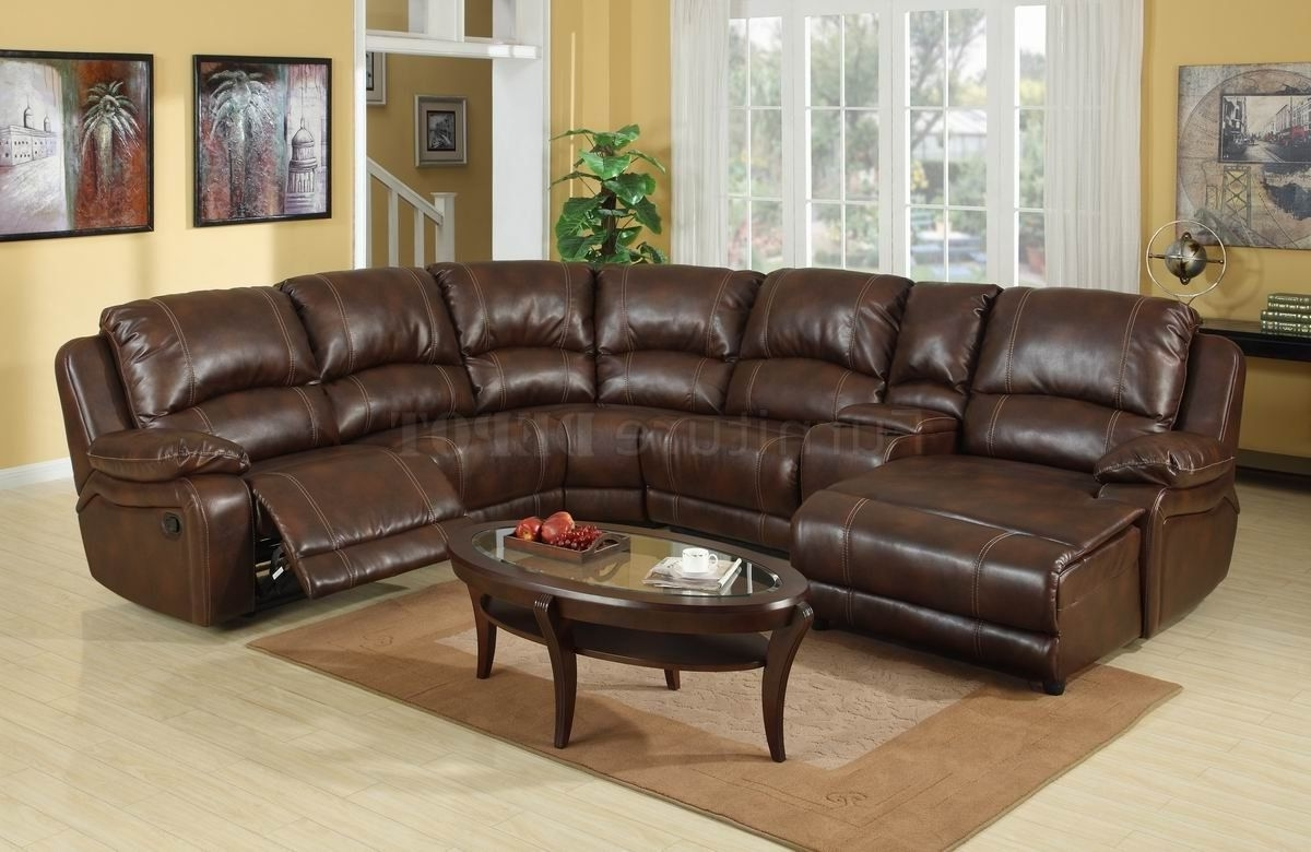 Trendy Dark Brown Leather Sectional Sofa With Recliner And Coffee Table Within Tucson Sectional Sofas (View 7 of 15)
