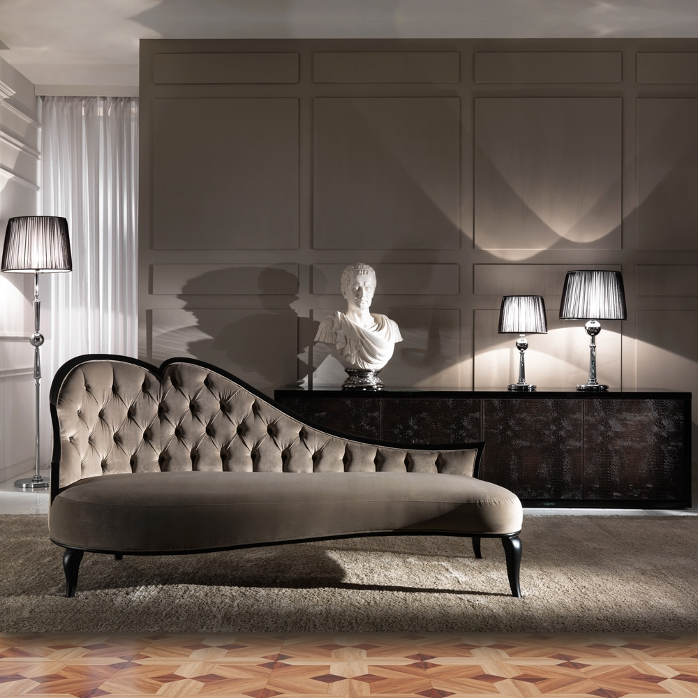 Trendy Designer Italian Button Upholstered Modern Chaise Longue Intended For Modern Chaise Longues (View 14 of 15)