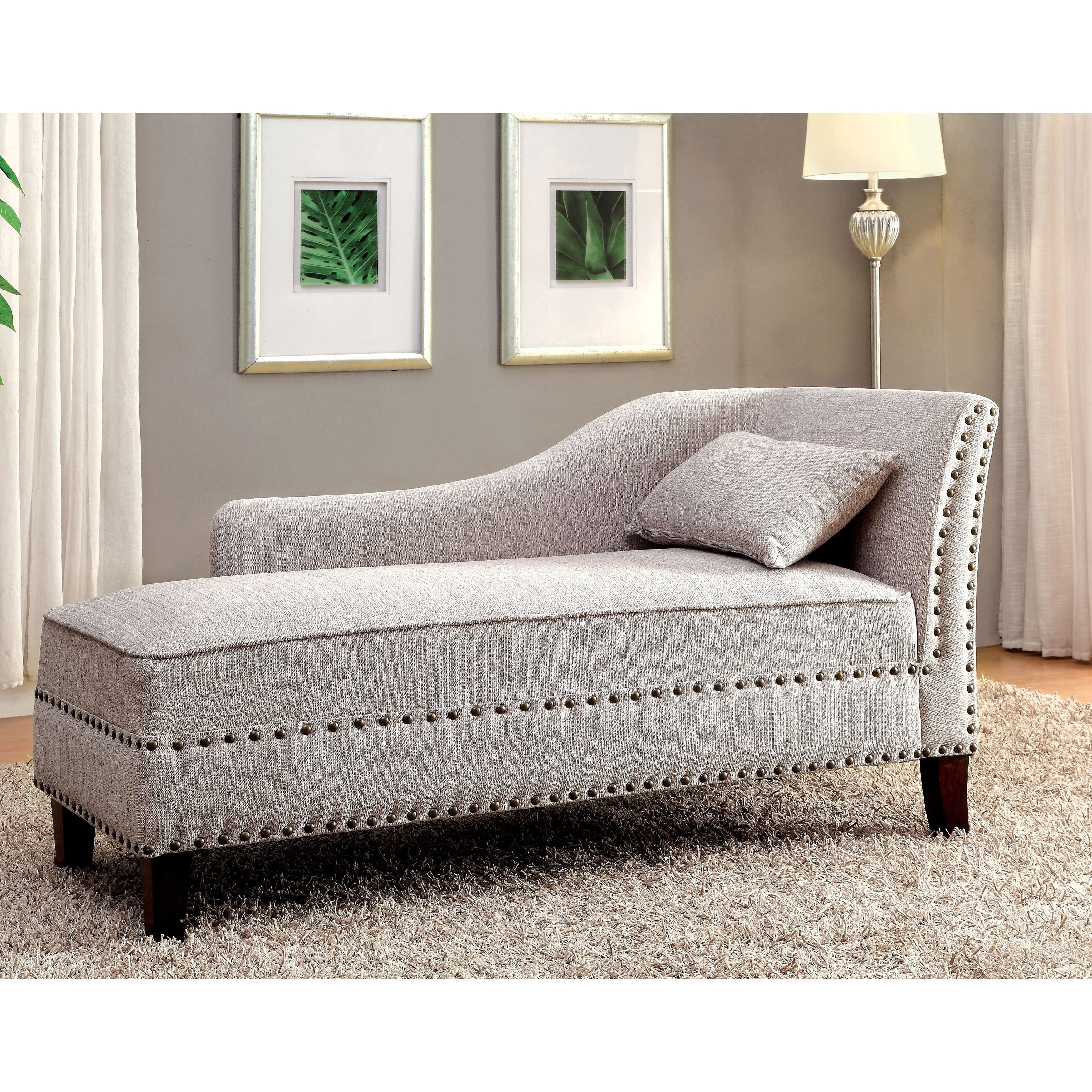 Trendy Furniture Of America Gillian Romantic Nailhead Trim Linen Like Inside Upholstered Chaises (View 6 of 15)