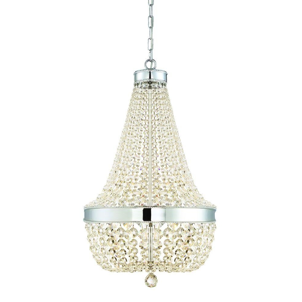 Trendy Home Decorators Collection 6 Light Chrome Crystal Chandelier 30331 Inside Chrome And Crystal Chandelier (View 11 of 15)