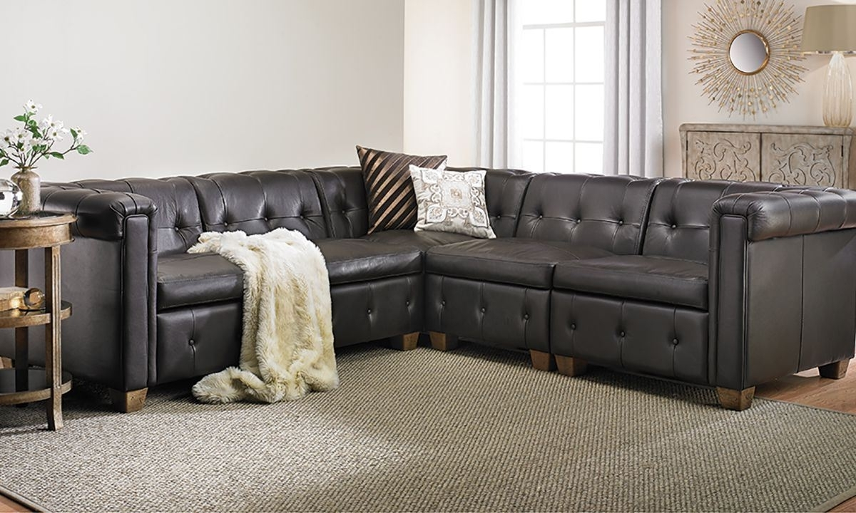 Trendy Houston Tx Sectional Sofas Inside In Pella Trapuntata Leather Sectional Sofa (View 12 of 15)