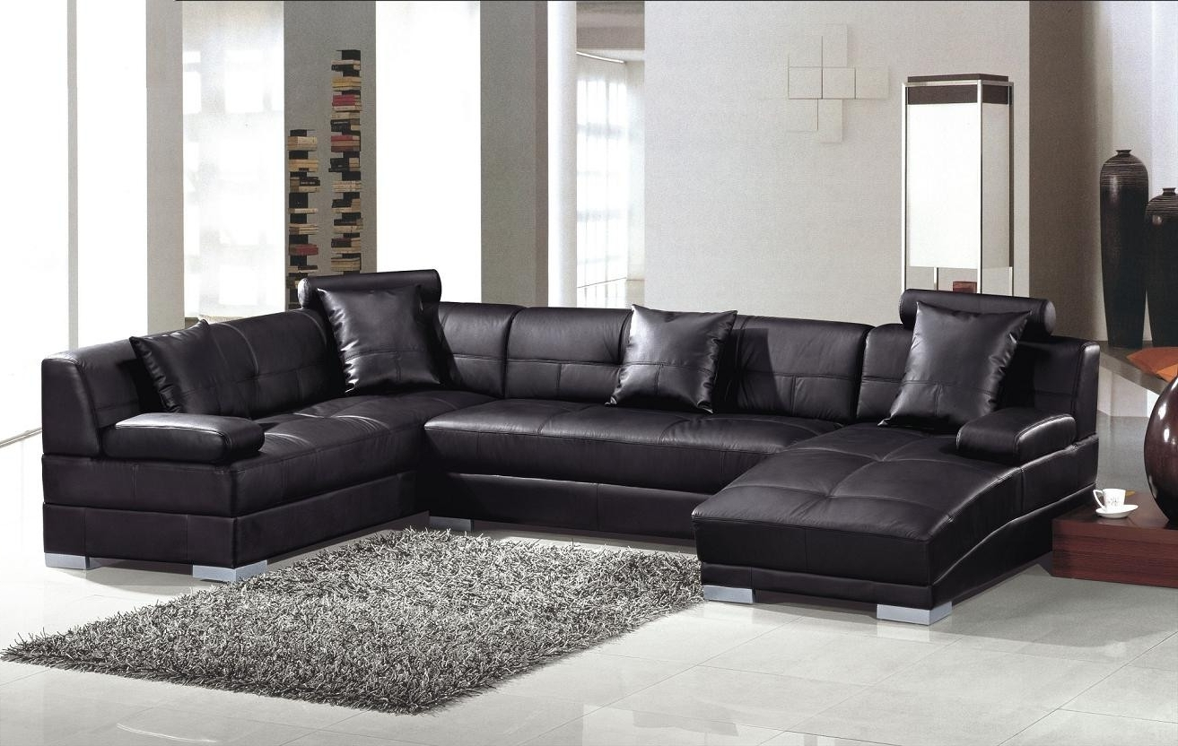 Trendy Leather Sectional Sofas In Ultra Modern Black Leather Sectional Sofa (View 13 of 15)