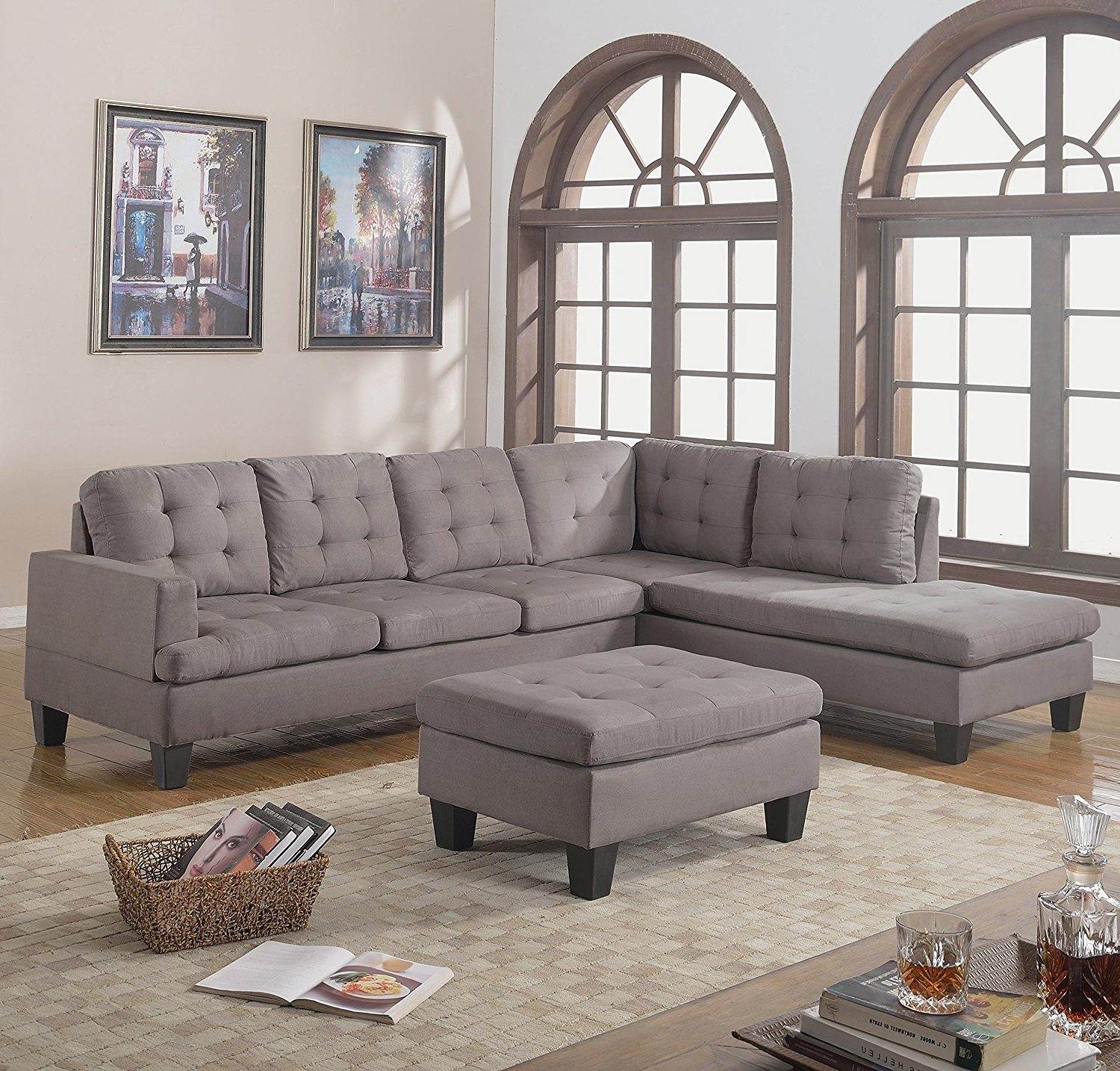 Trendy Light Grey Sectional Sofas With Regard To Amazon: Divano Roma Furniture 3 Piece Reversible Chaise (View 14 of 15)