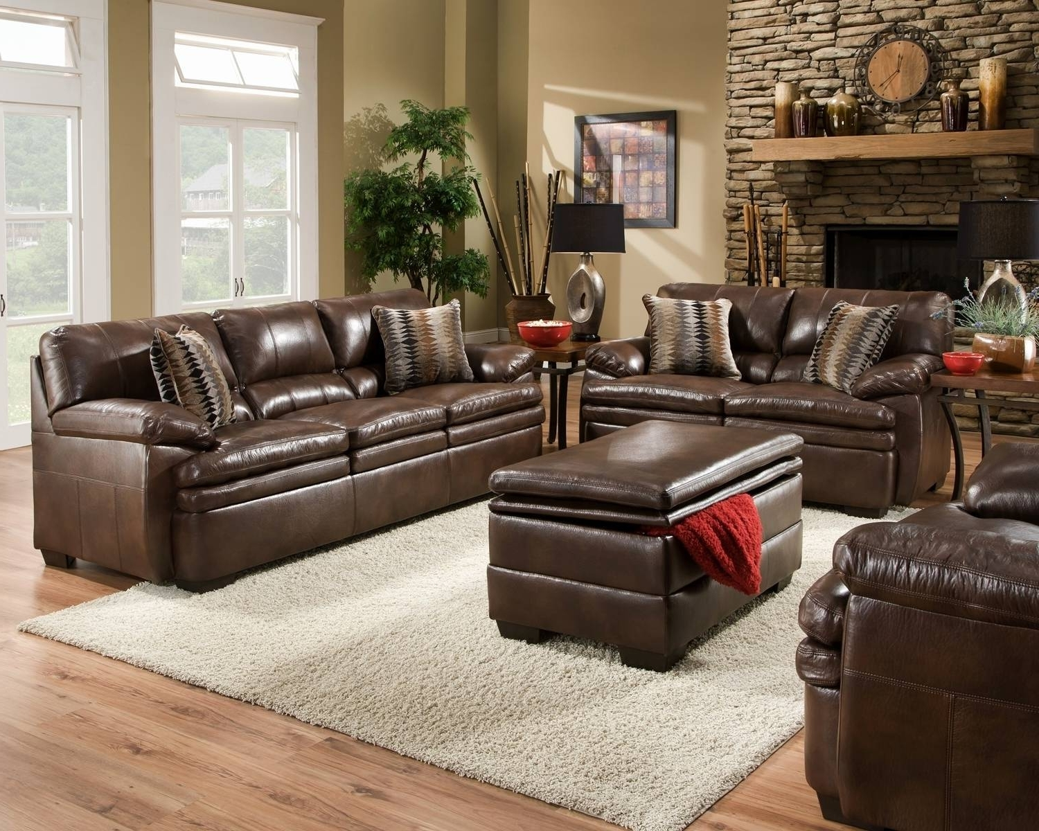 Trendy Living Room Sofas Sets Fancy Brown Bonded Leather Sofa Set Casual For Casual Sofas And Chairs (View 6 of 15)