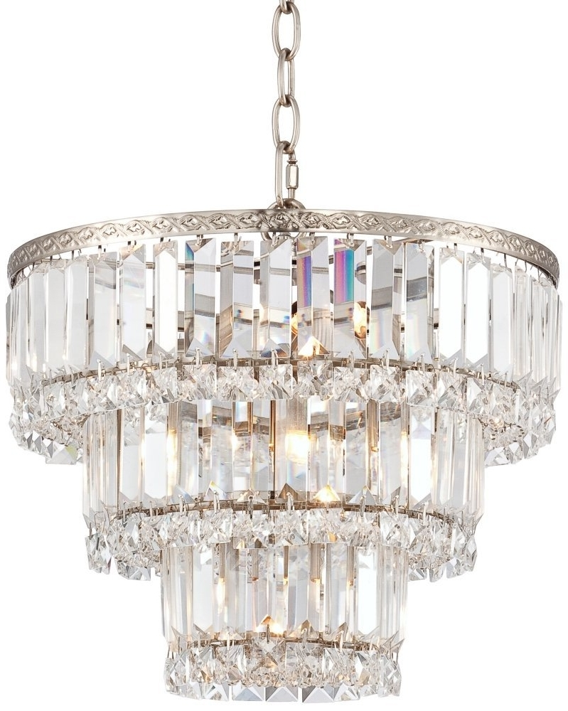 """Trendy Magnificence Satin Nickel 14 1/4"""" Wide Crystal Chandelier – – Amazon With Regard To 3 Tier Crystal Chandelier (View 5 of 15)"""