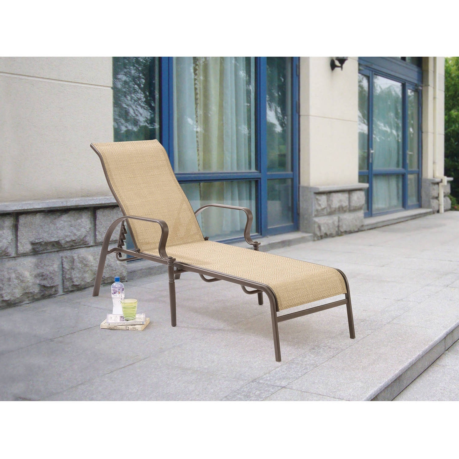 Trendy Mainstays Wesley Creek Sling Outdoor Chaise Lounge – Walmart Within Chaise Lounge Chairs At Walmart (View 14 of 15)