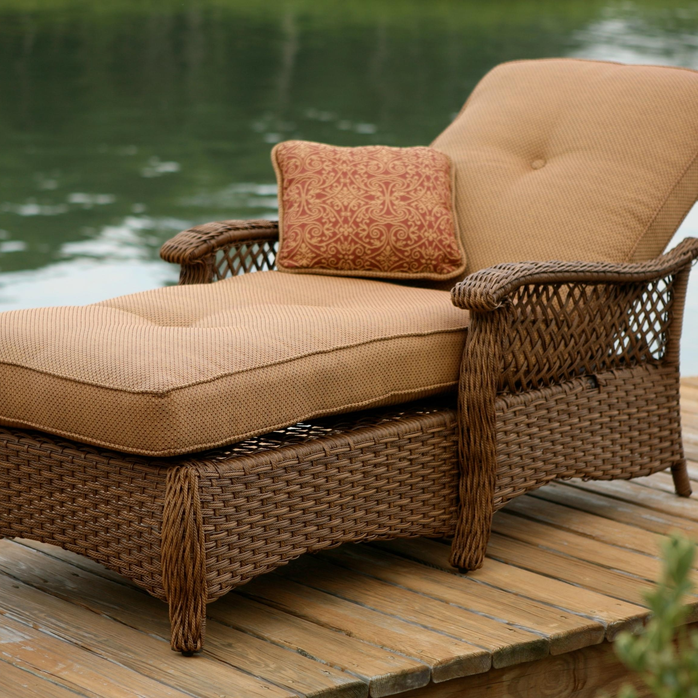Trendy Outdoor Lounge Chaises Pertaining To Comfortable Wicker Outdoor Lounge Chaise With Brown Cushion And (View 13 of 15)