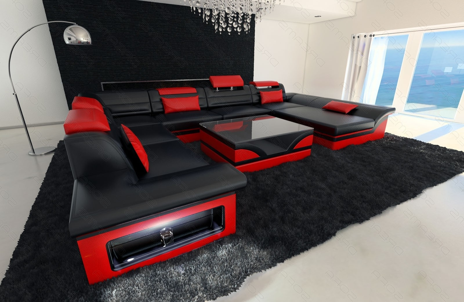 Trendy Red Black Sectional Sofas In Beautiful Red And Black Sectional Sofa – Buildsimplehome (View 5 of 15)