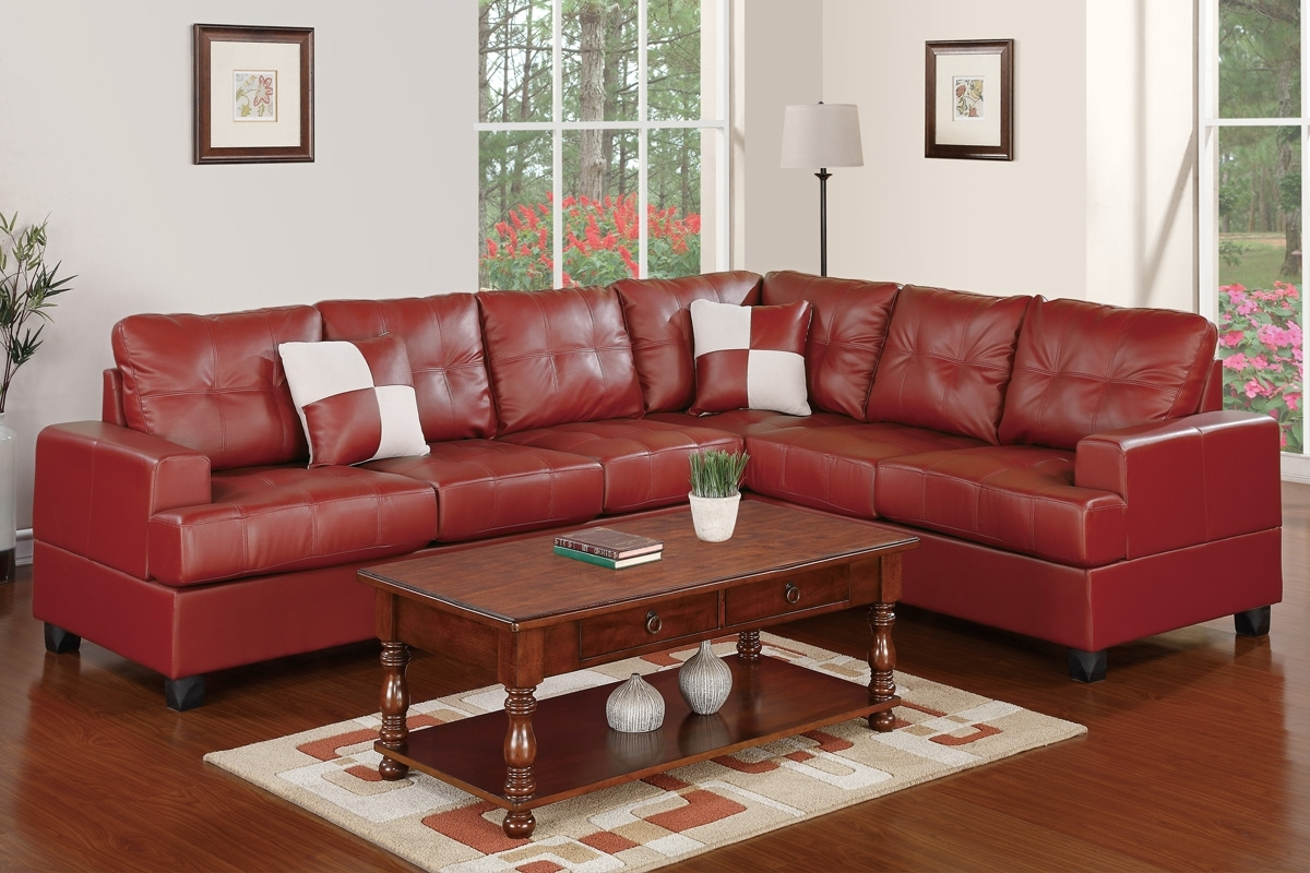 Trendy Red Faux Leather Sectionals Intended For Leather Sectionals, Living Room – Burgundy Bonded Leather Sectional (View 14 of 15)