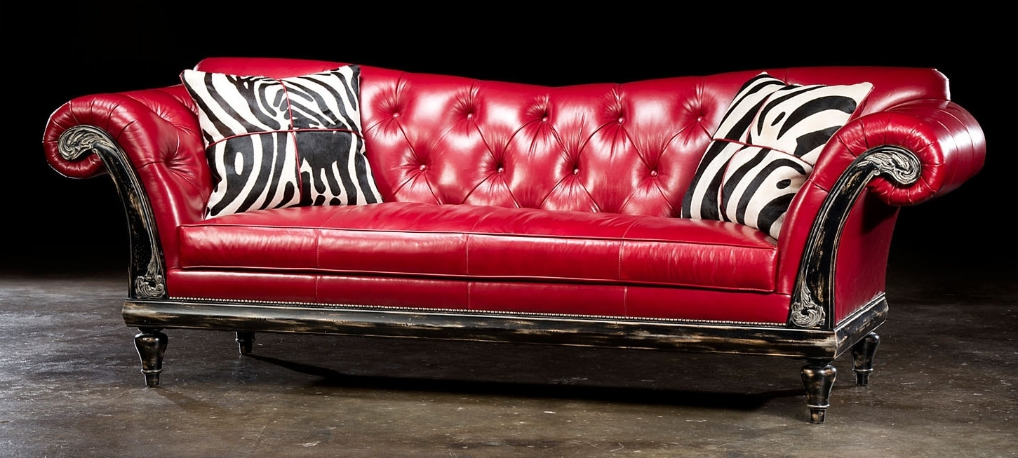 Trendy Red Leather Sofas Throughout 1 Red Hot Leather Sofa, Usa Made, Lost Look From The Past (View 2 of 15)