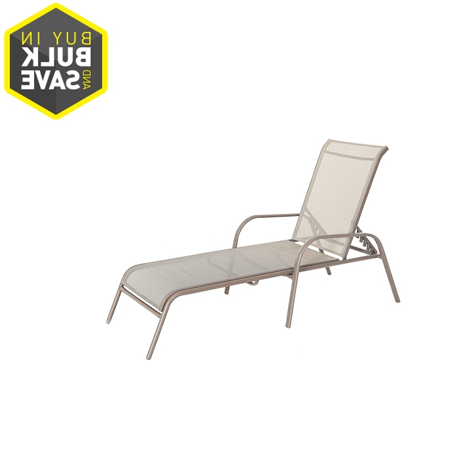 Trendy Shop Garden Treasures Driscol Driscol Brown Steel Stackable Patio In Fabric Outdoor Chaise Lounge Chairs (View 5 of 15)