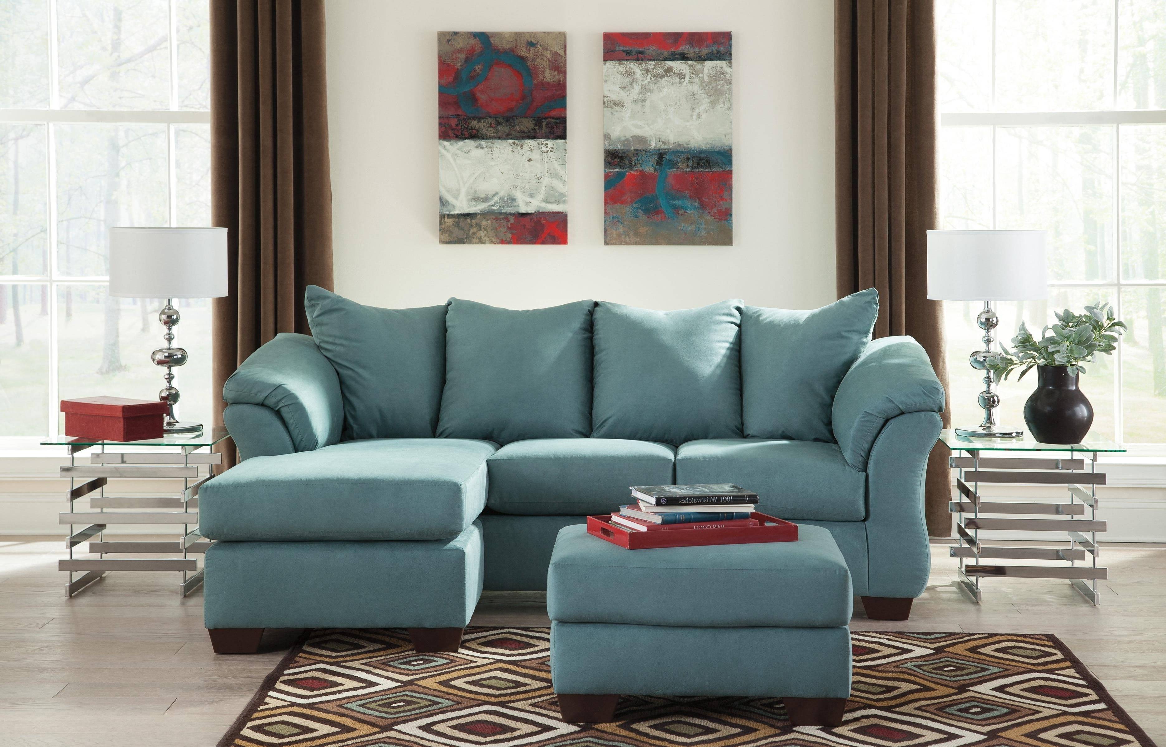 Trendy Signature Designashley Darcy – Sky Contemporary Sofa Chaise Intended For Ashley Sofa Chaises (View 12 of 15)
