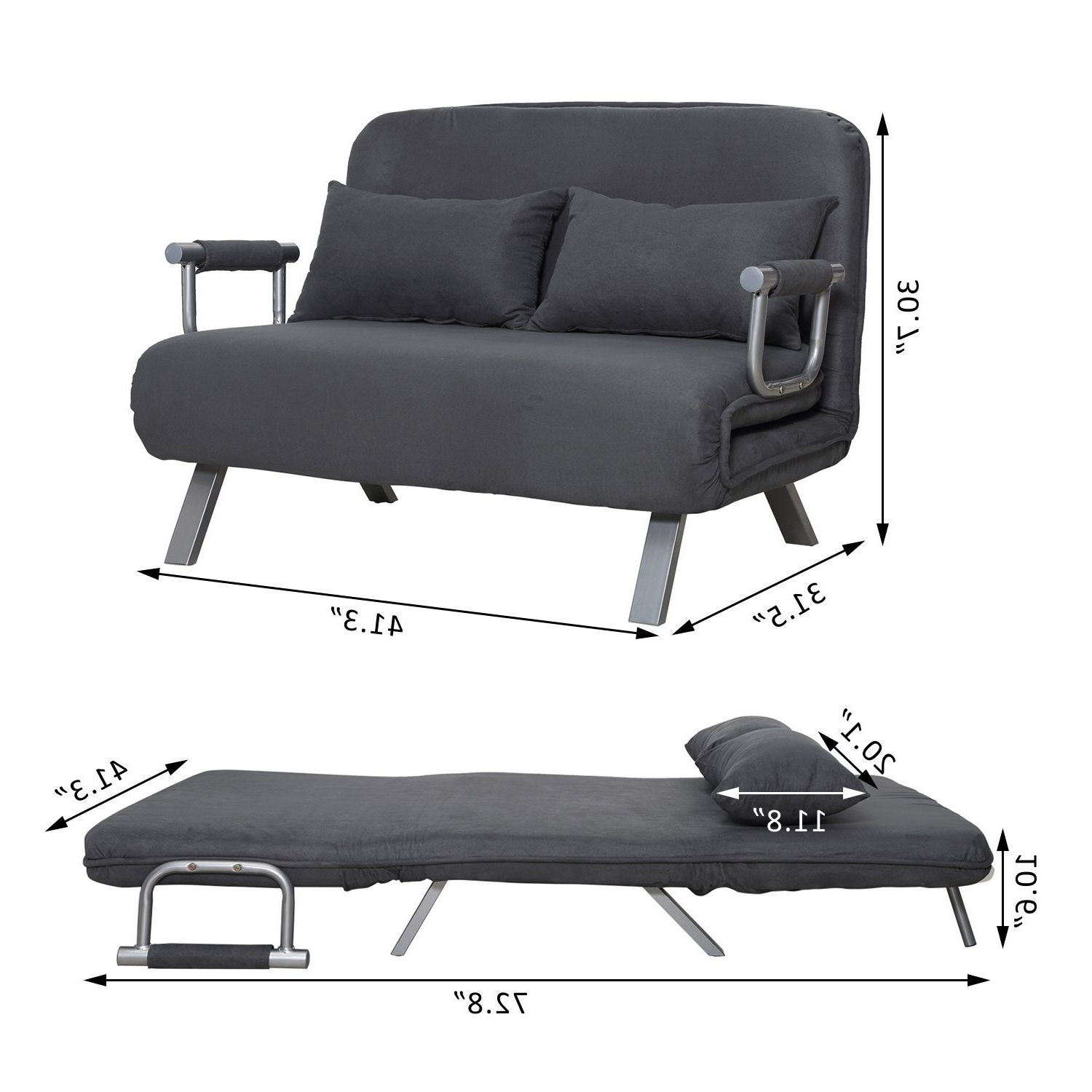 Trendy Single Seat Sofa Chairs Intended For Amazon: Homcom Suede Fabric Lounge Futon Sofa Chair – Gray (View 11 of 15)