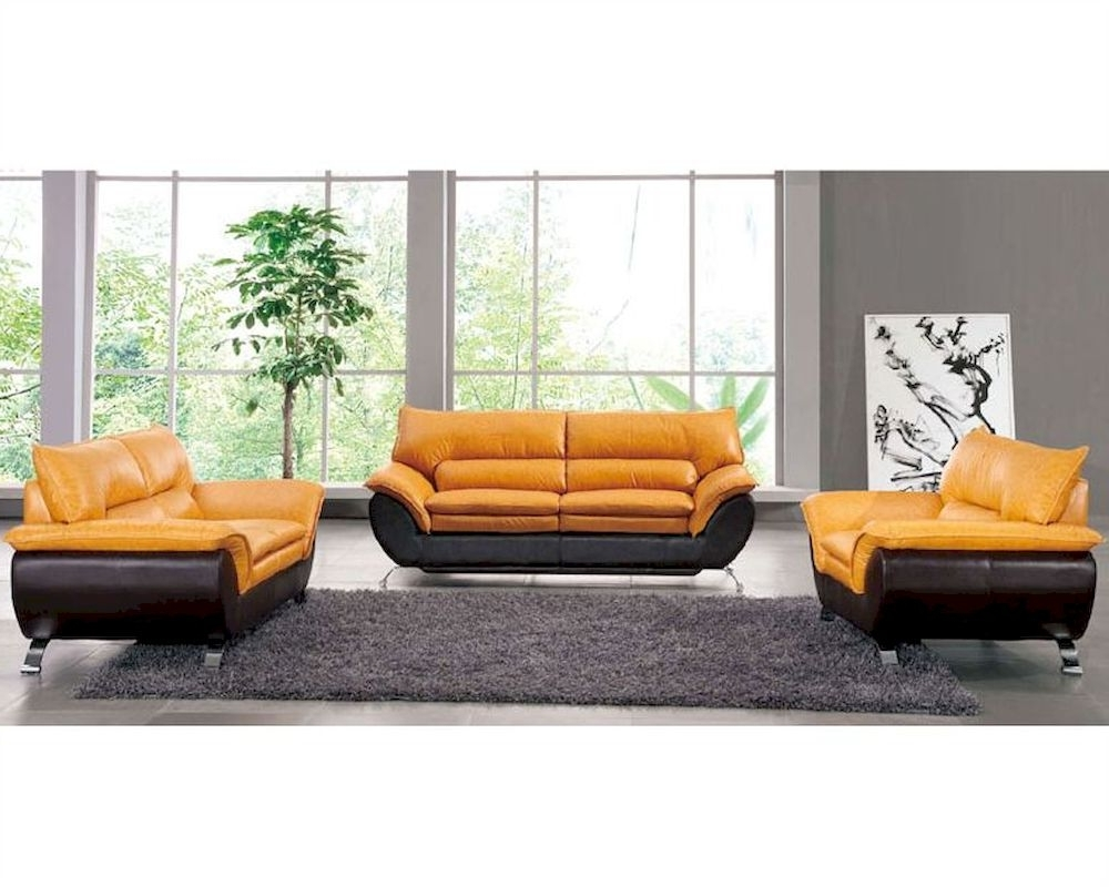 Trendy Two Tone Sofas In Two Tone Leather Sofa Set European Design 33Ss (View 8 of 15)