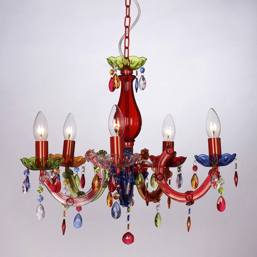 Trendy Vintage Style Multi Coloured Marie Therese 5 Way Ceiling Light Gypsy Inside Coloured Chandeliers (View 15 of 15)