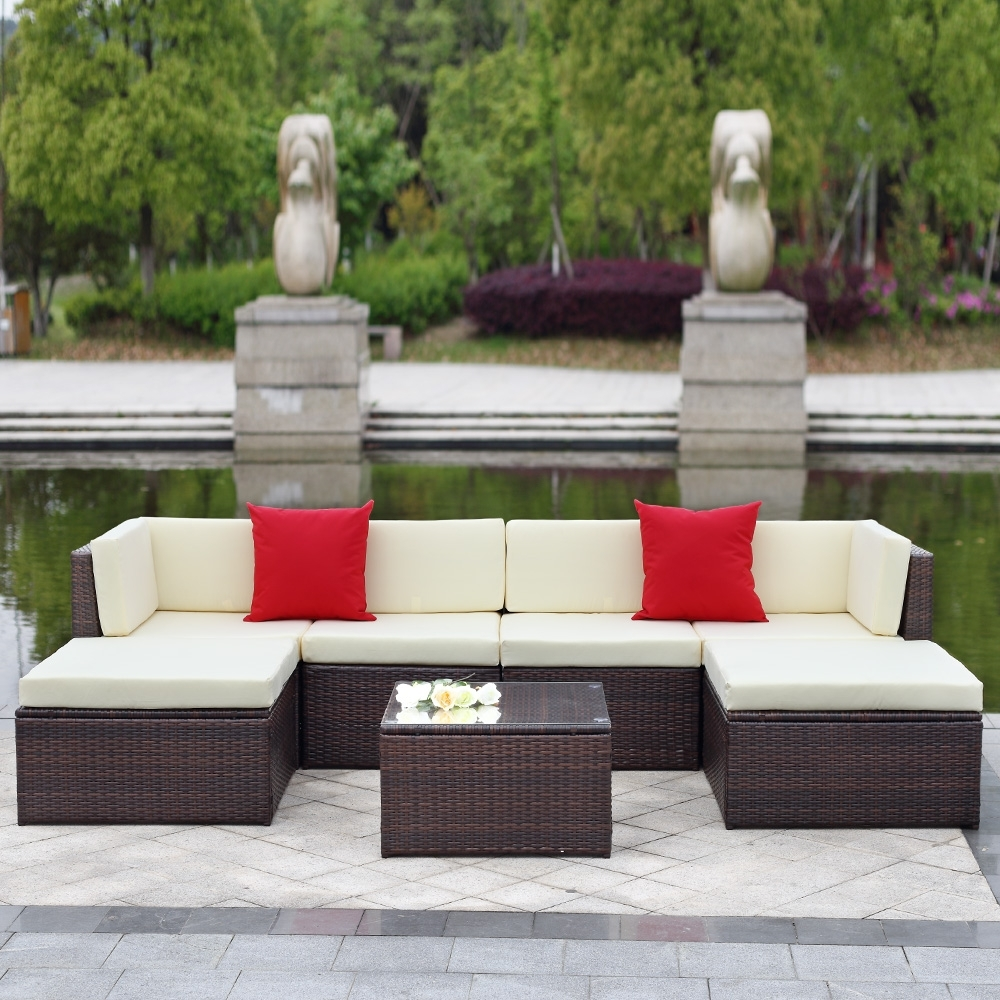 Trinidad And Tobago Sectional Sofas For Current Brown Ikayaa 7Pcs Outdoor Patio Garden Rattan Wicker Sectional (View 6 of 15)