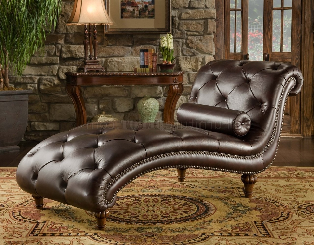 Tufted Leather Chaises In Well Known Rich Brown Top Grain Tufted Leather Traditional Chaise Lounge (View 9 of 15)