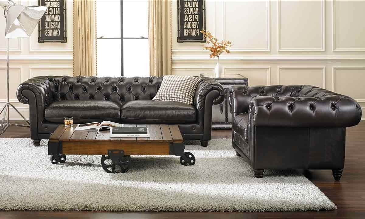 Tufted Leather Chesterfield Sofas Throughout Most Popular Leather Sofas (View 15 of 15)