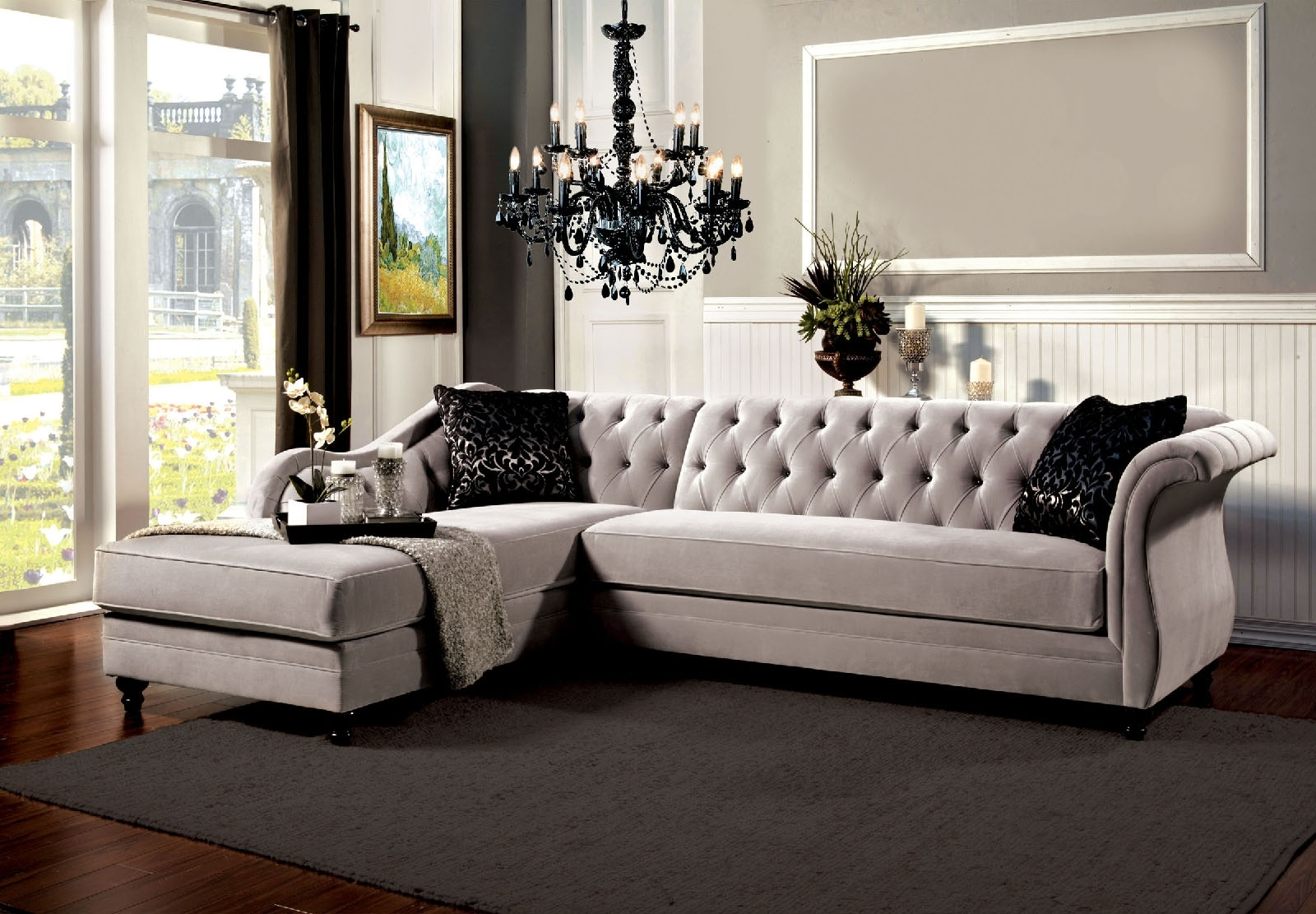 Tufted Sectional Sofas For Current Grey Vintage Tufted Sectional Sofa (View 4 of 15)