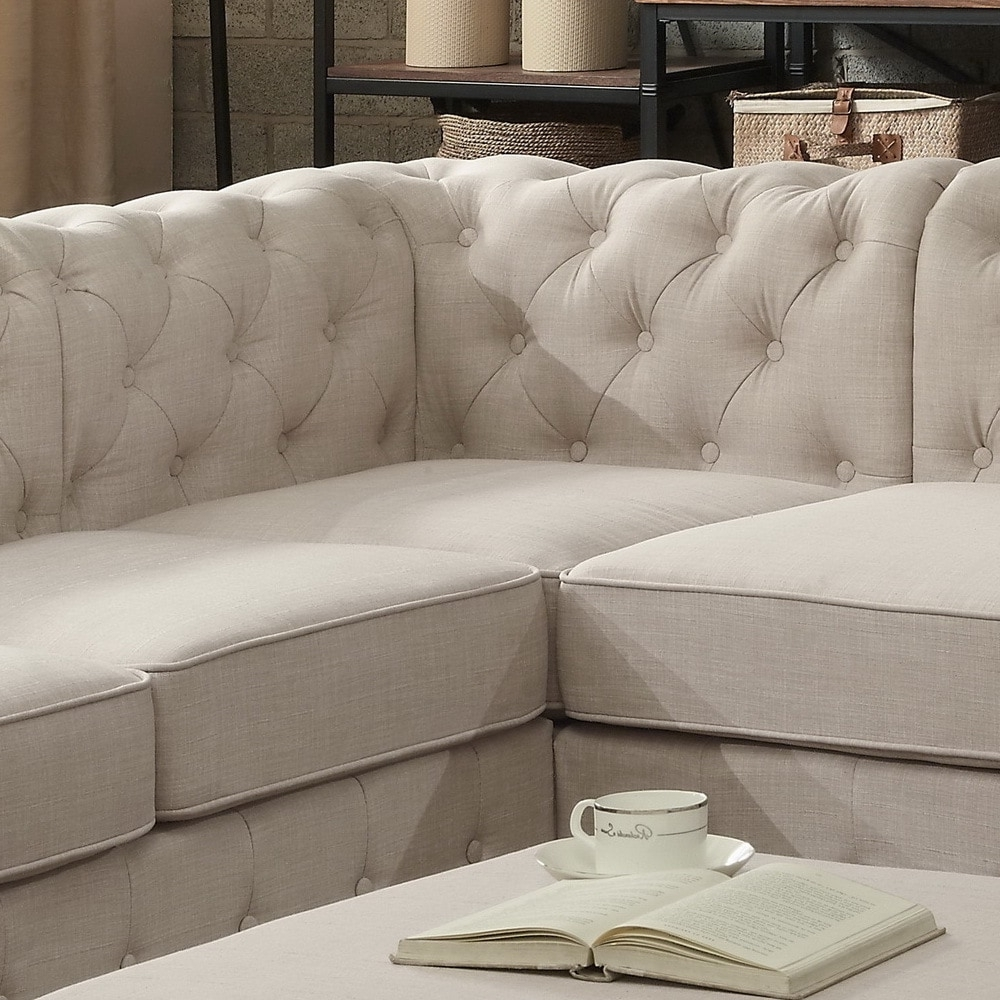 Tufted Sectional Sofas In Fashionable Moser Bay Furniture Olivia Tufted Sectional Sofa – Free Shipping (View 15 of 15)