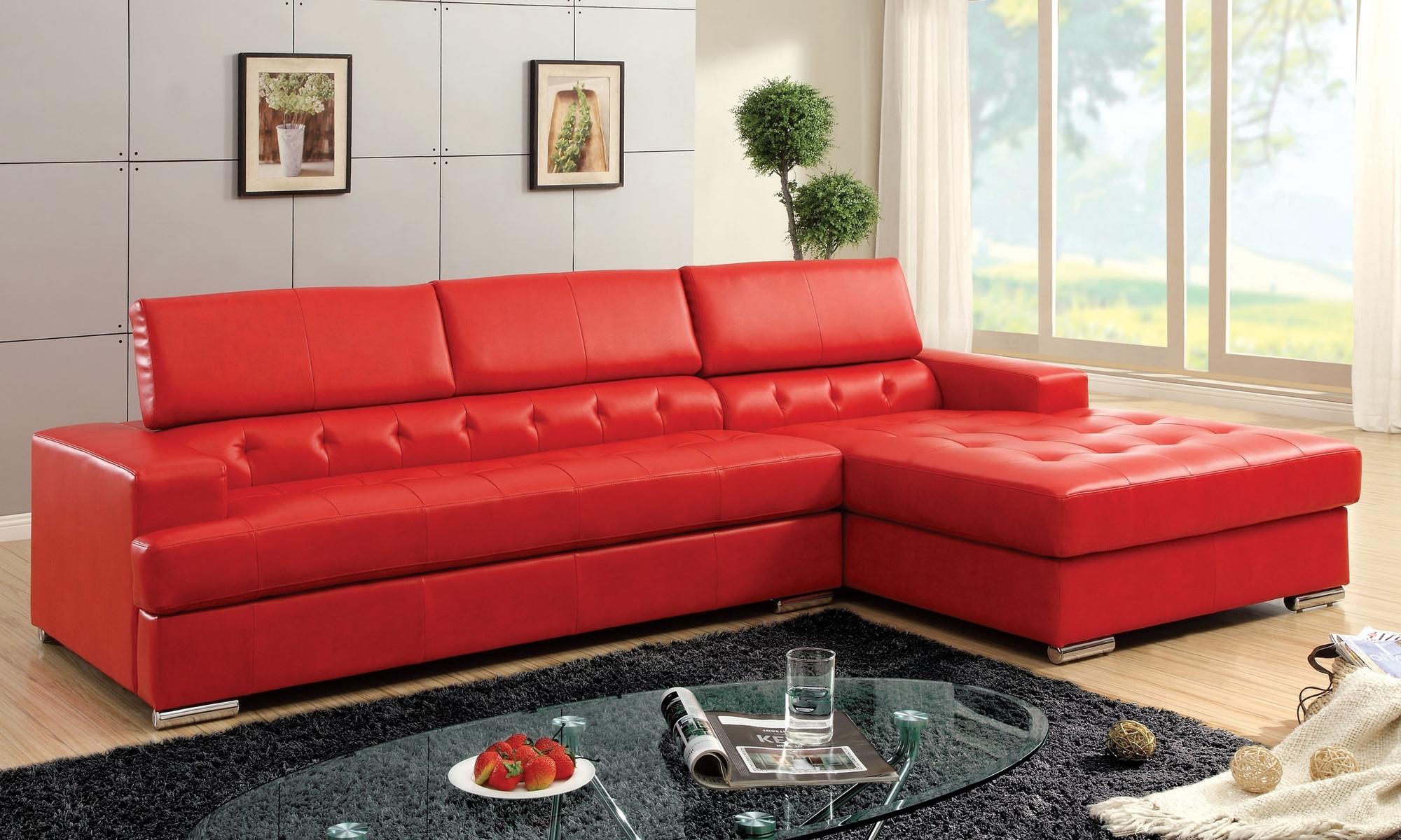 Tufted Sectional Sofas With Chaise For Current Glamorous Genuine Leather Chesterfield Sofa As Well As Modern (View 6 of 15)