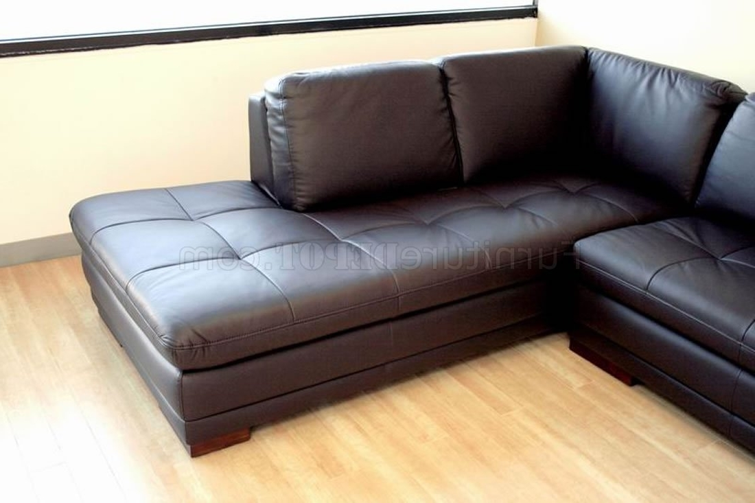 Tufted Sectional Sofas With Chaise Regarding Most Up To Date Tufted Leather Right Facing Chaise Modern Sectional Sofa (View 8 of 15)