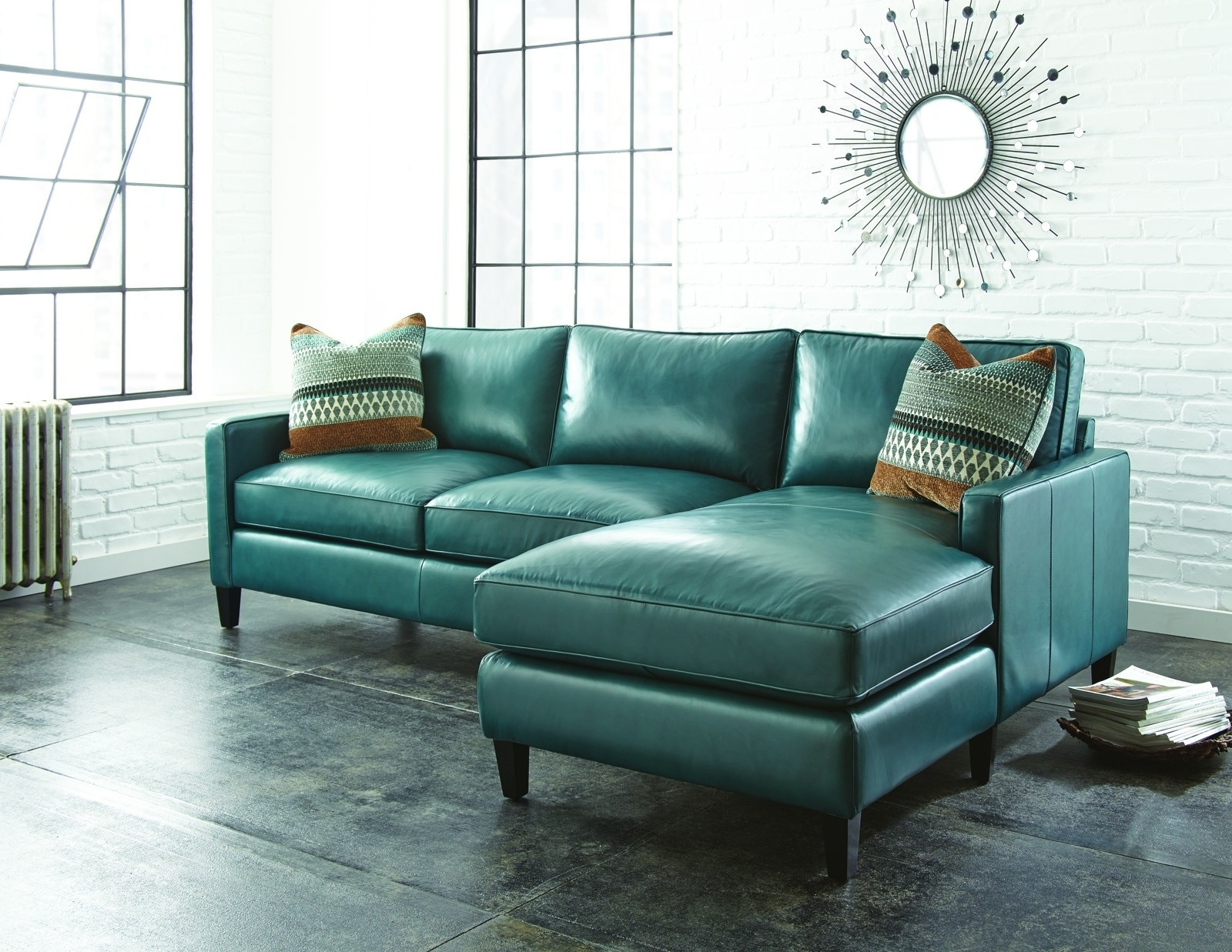 Turquoise Leather Sectional Sofa For Living Room With Sun Wall Intended For Famous Turquoise Sofas (View 15 of 15)