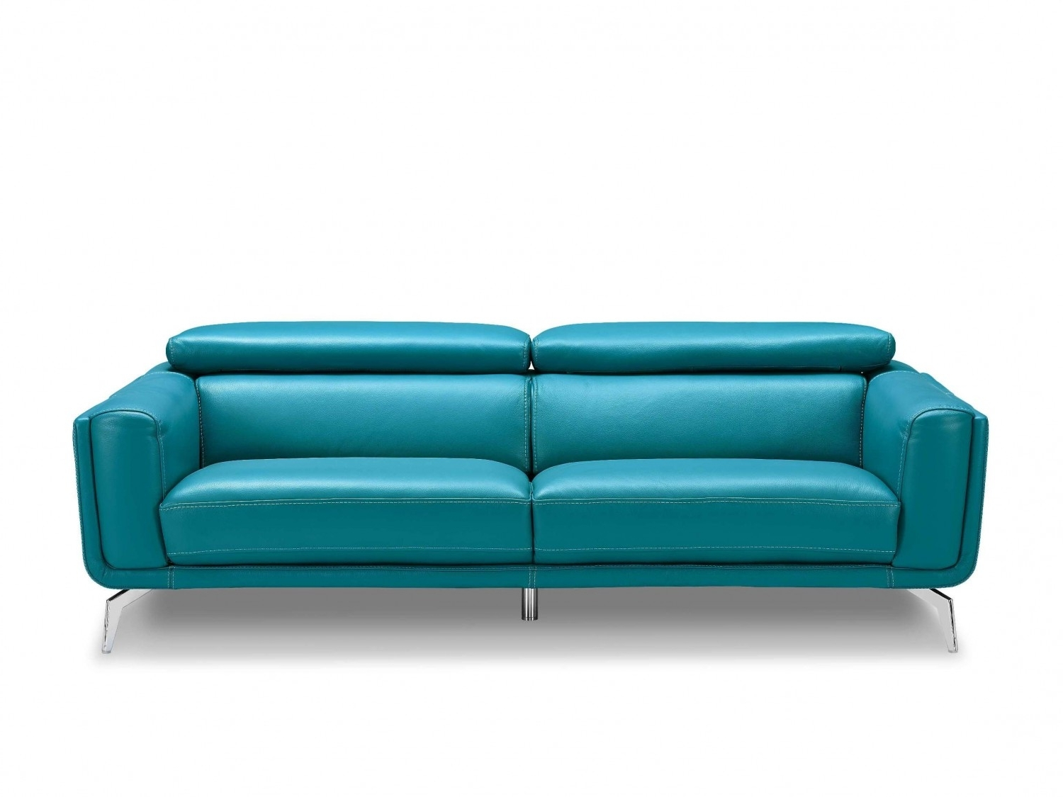 Turquoise Sofas Throughout Recent Sprint Blue Leather Sofa, High Density Foam Sofas, Stainless Steel (View 4 of 15)