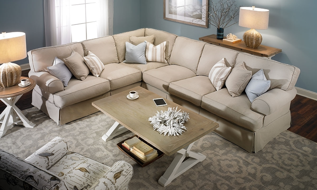 Two Lanes Classic Roll Arm Slipcovered Sectional (View 3 of 15)