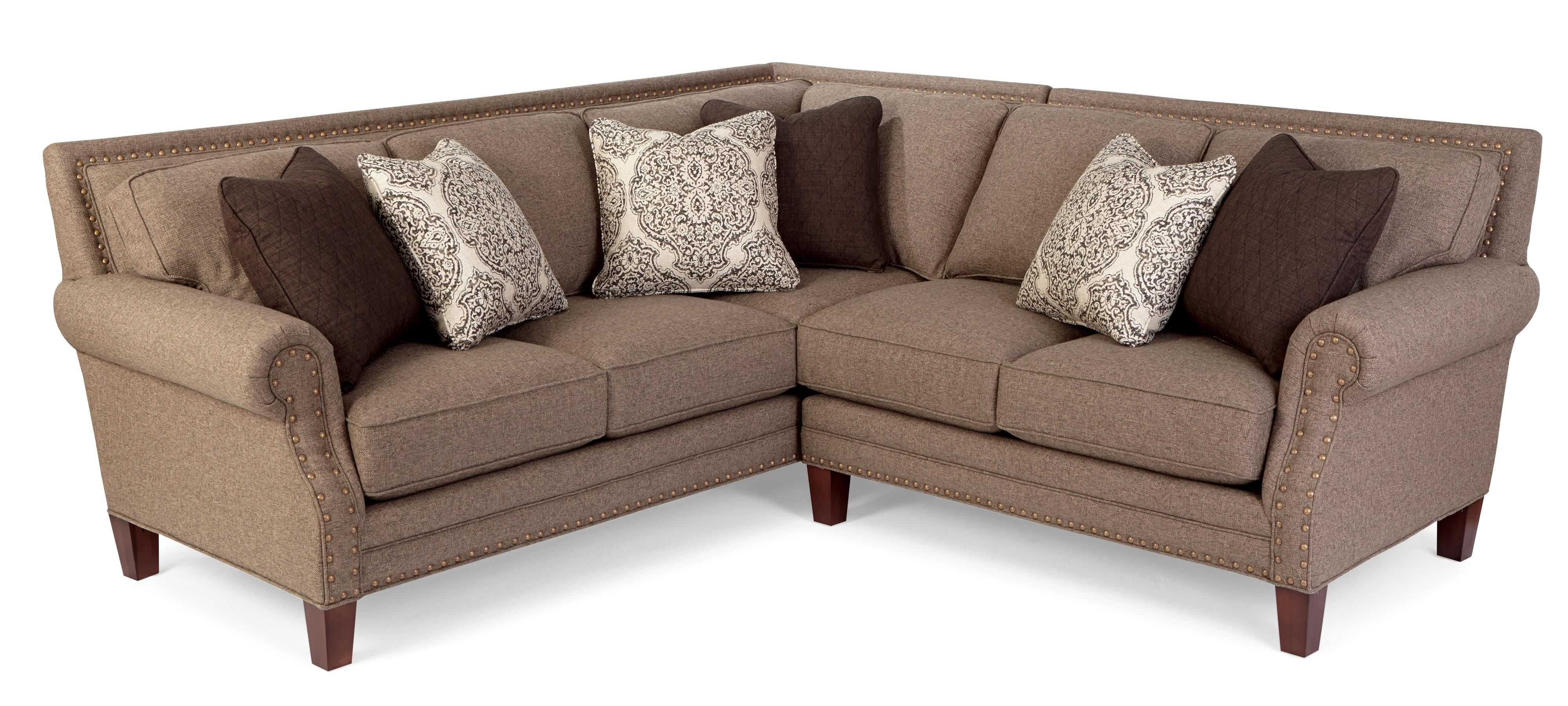 Two Piece Sectional Sofa With Rolled Arms And Light Brass Within Best And Newest Sectional Sofas With Nailheads (View 14 of 15)