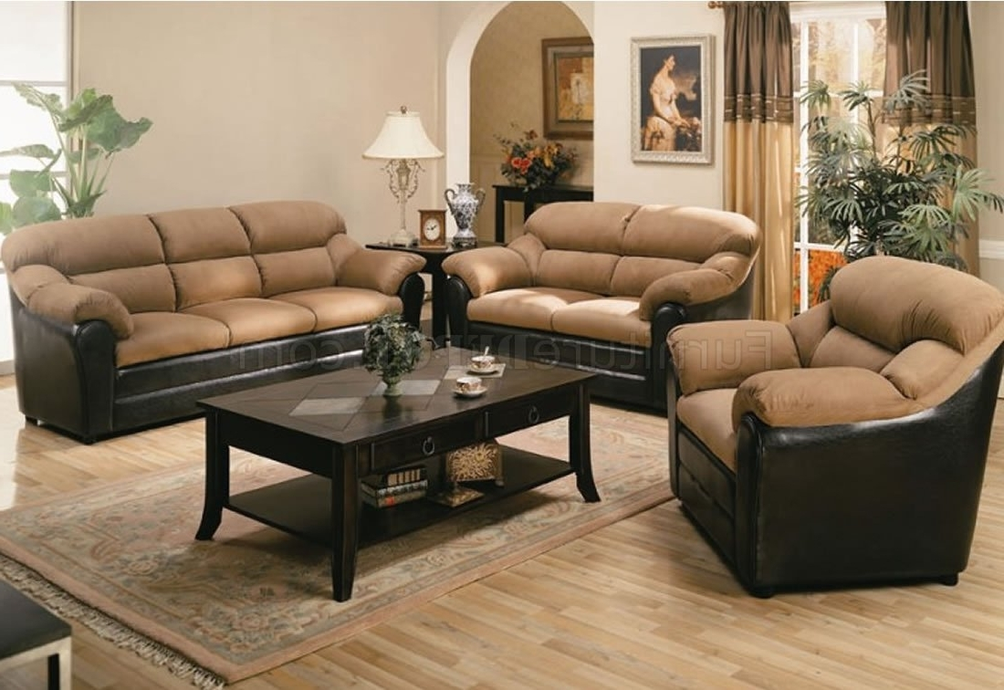 Two Tone Sofas Pertaining To Preferred Two Tone Mocha Contemporary Living Room 501881N (View 10 of 15)
