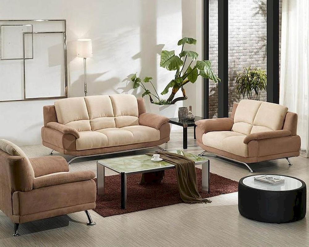 Two Tone Sofas Regarding Current Two Tone Fabric Sofa Set 44L (View 8 of 15)