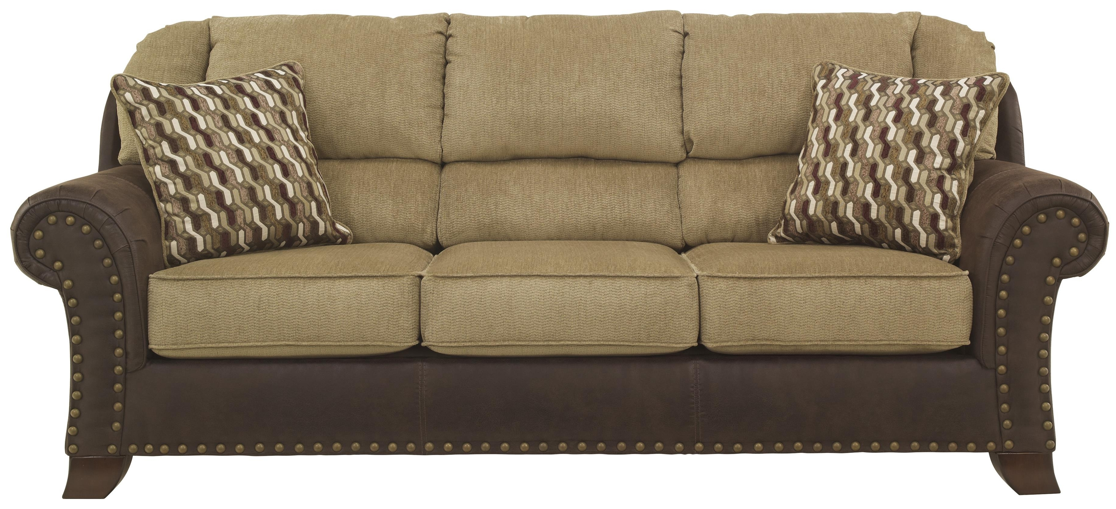 Two Tone Sofas With Popular Two Tone Sofa With Chenille Fabric/faux Leather Upholstery (View 11 of 15)