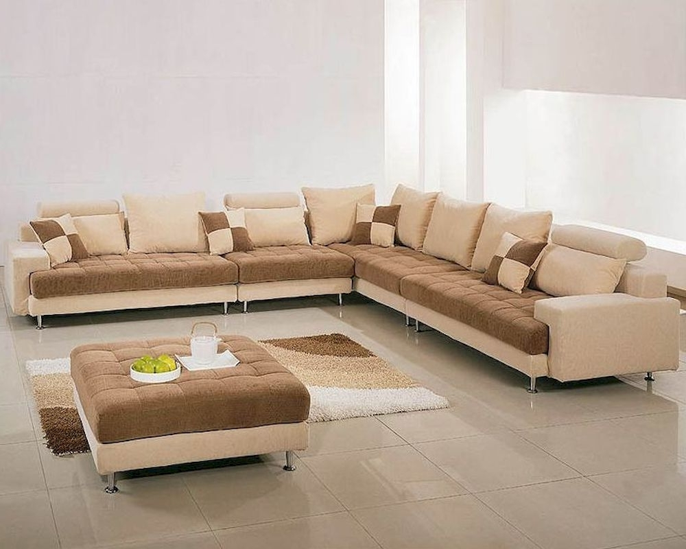 Two Tone Sofas with regard to Preferred Two Tone Fabric Contemporary Sectional Sofa Set 44Lg60B