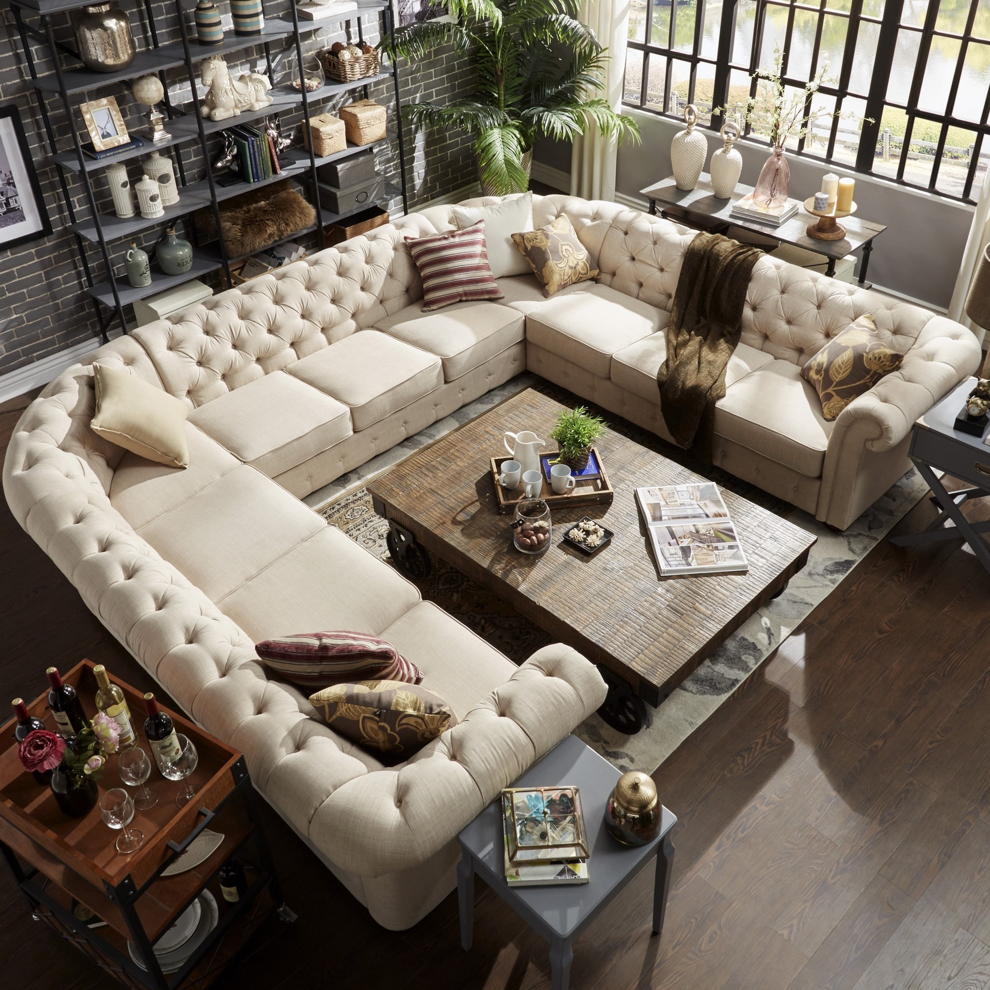 U Shaped Sectionals Throughout Best And Newest Knightsbridge Tufted Scroll Arm Chesterfield 11 Seat U Shaped (View 4 of 15)