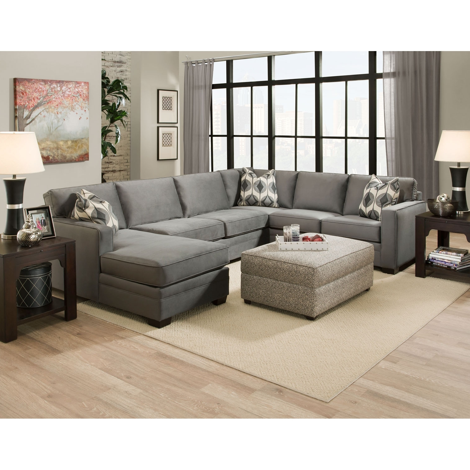 U Shaped Sectionals With Chaise regarding Most Current Gray Extra Large U Shaped Sectional Sofa With Chaise And Accent